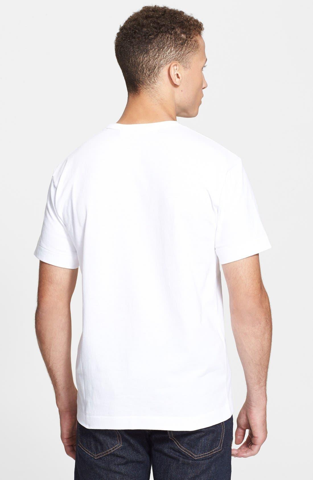 COMME DES GARÇONS PLAY, Graphic T-Shirt, Alternate thumbnail 3, color, WHITE