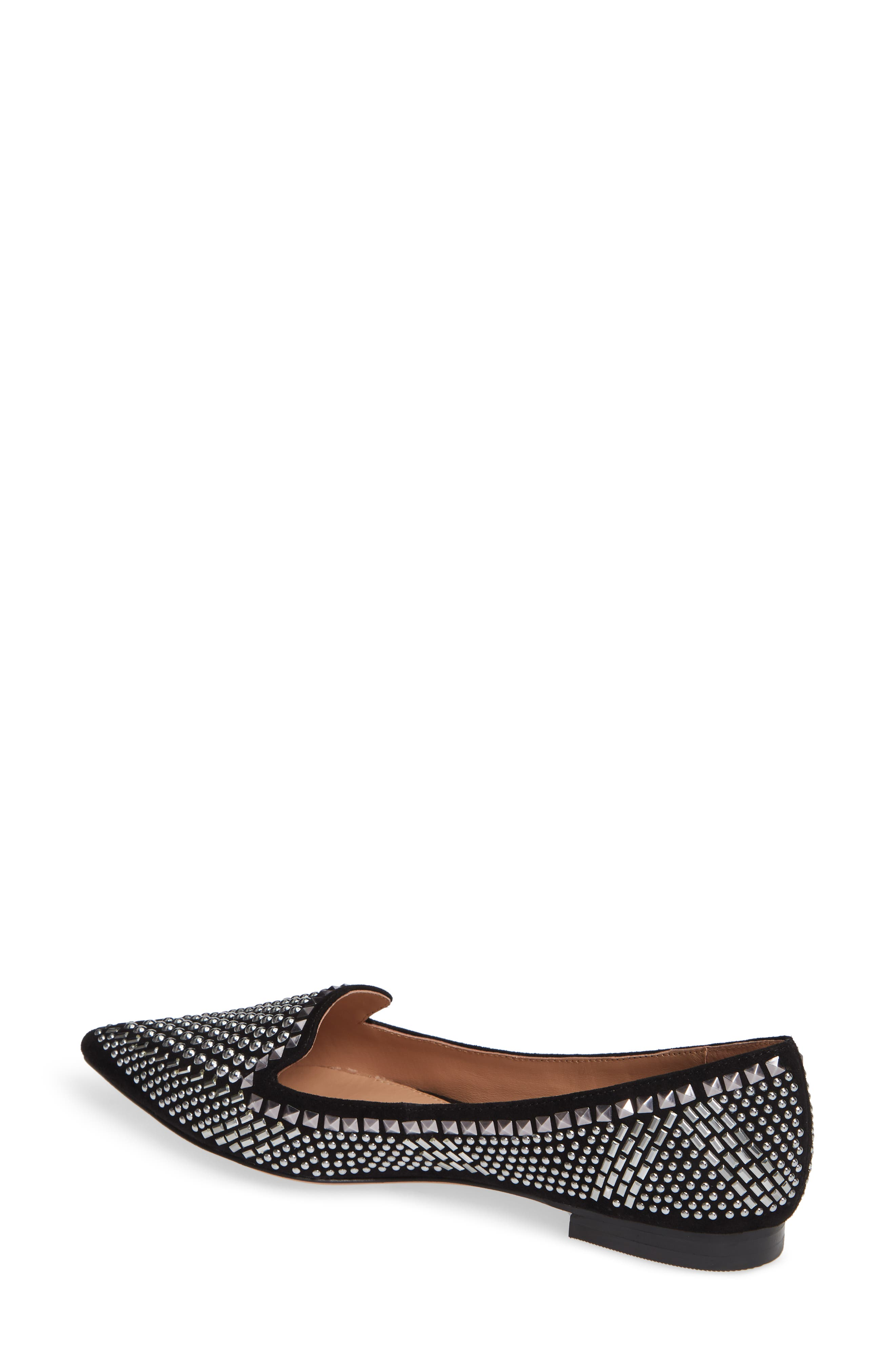 LINEA PAOLO, Portia Studded Loafer, Alternate thumbnail 2, color, BLACK SUEDE
