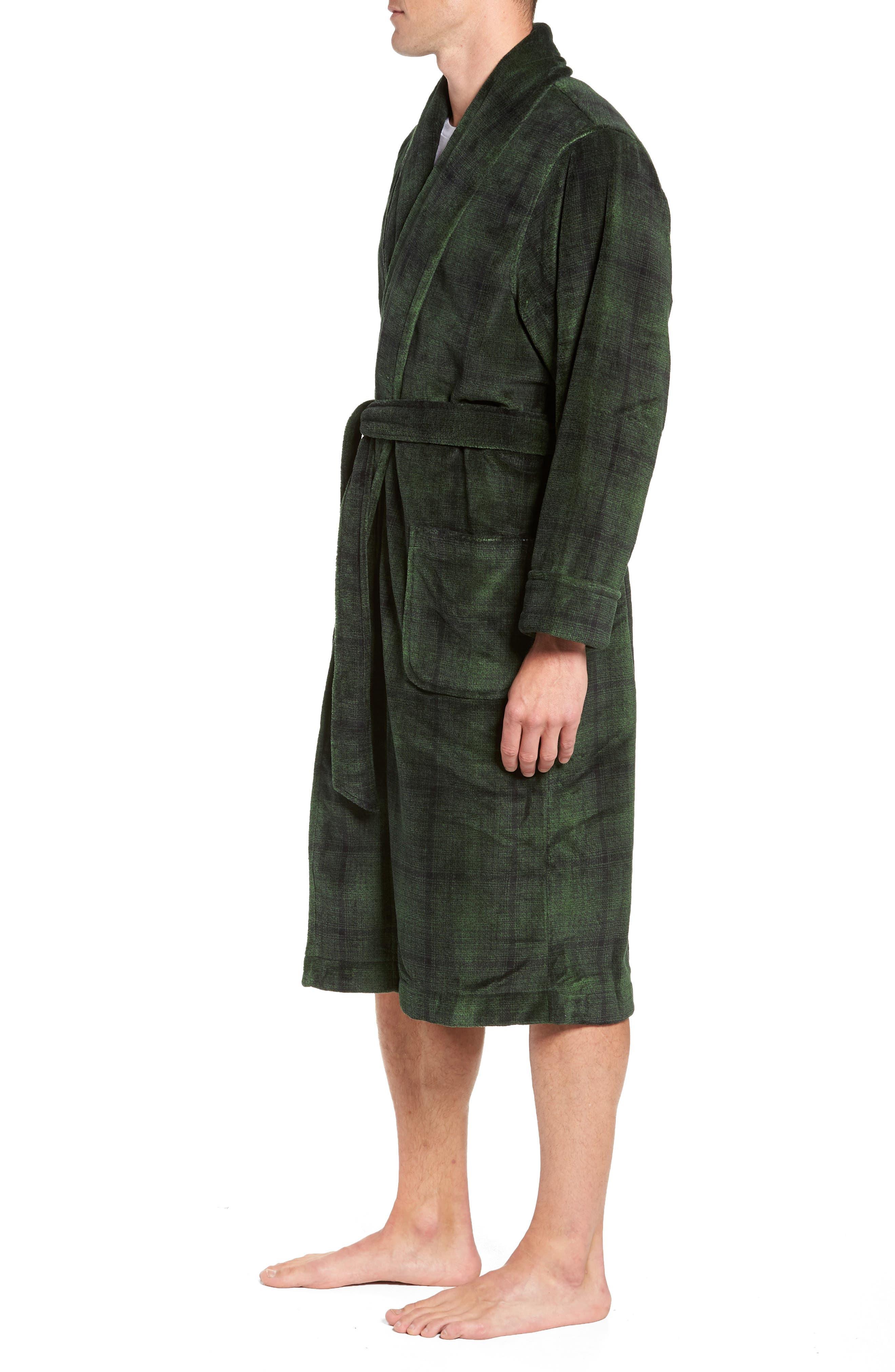 NORDSTROM MEN'S SHOP, Ombré Plaid Fleece Robe, Alternate thumbnail 3, color, GREEN - BLACK OMBRE PLAID