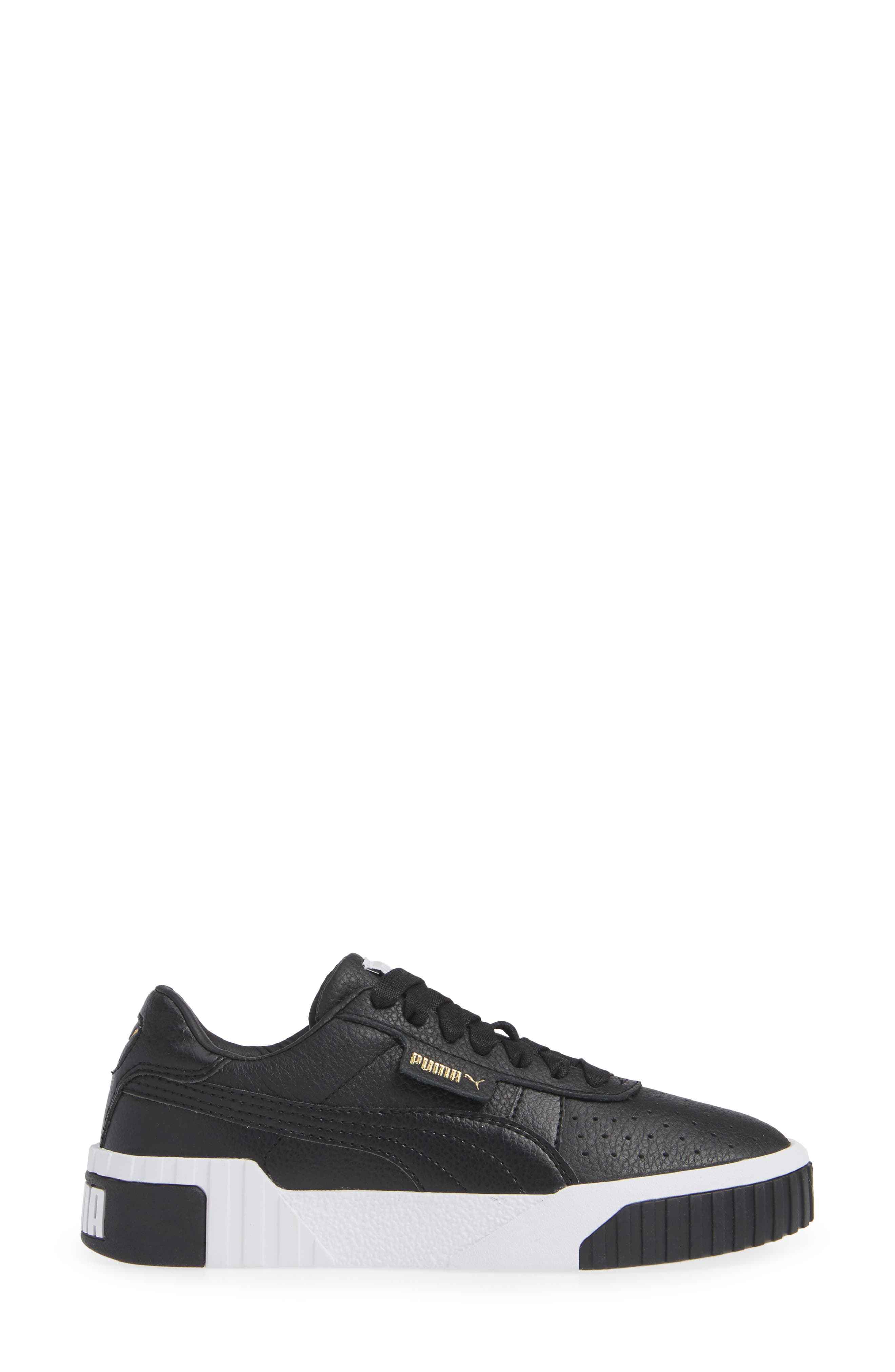 PUMA, Cali Sneaker, Alternate thumbnail 3, color, PUMA BLACK/ PUMA WHITE