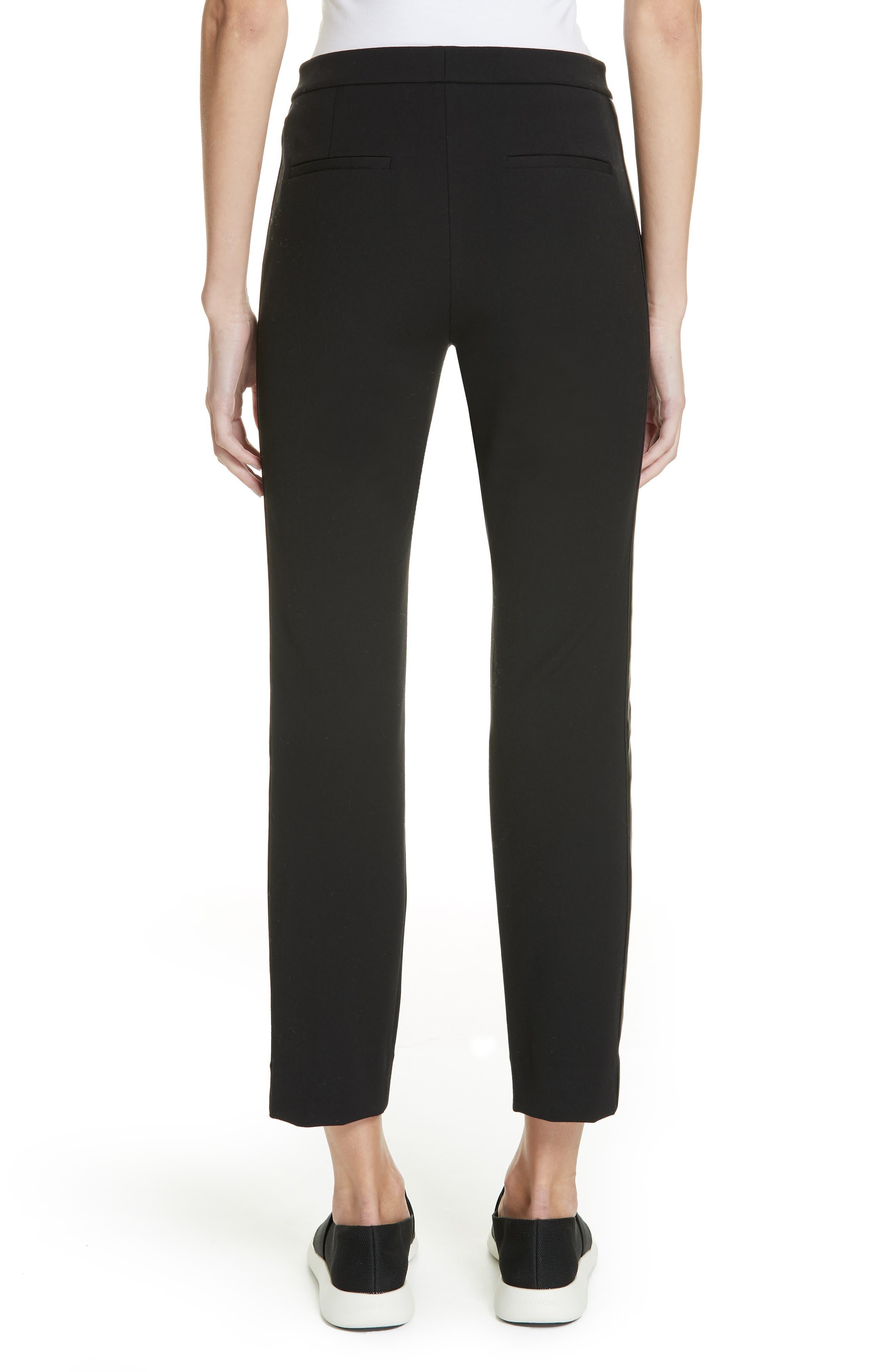 VINCE, Faux Leather Side Stripe Trousers, Alternate thumbnail 2, color, BLACK