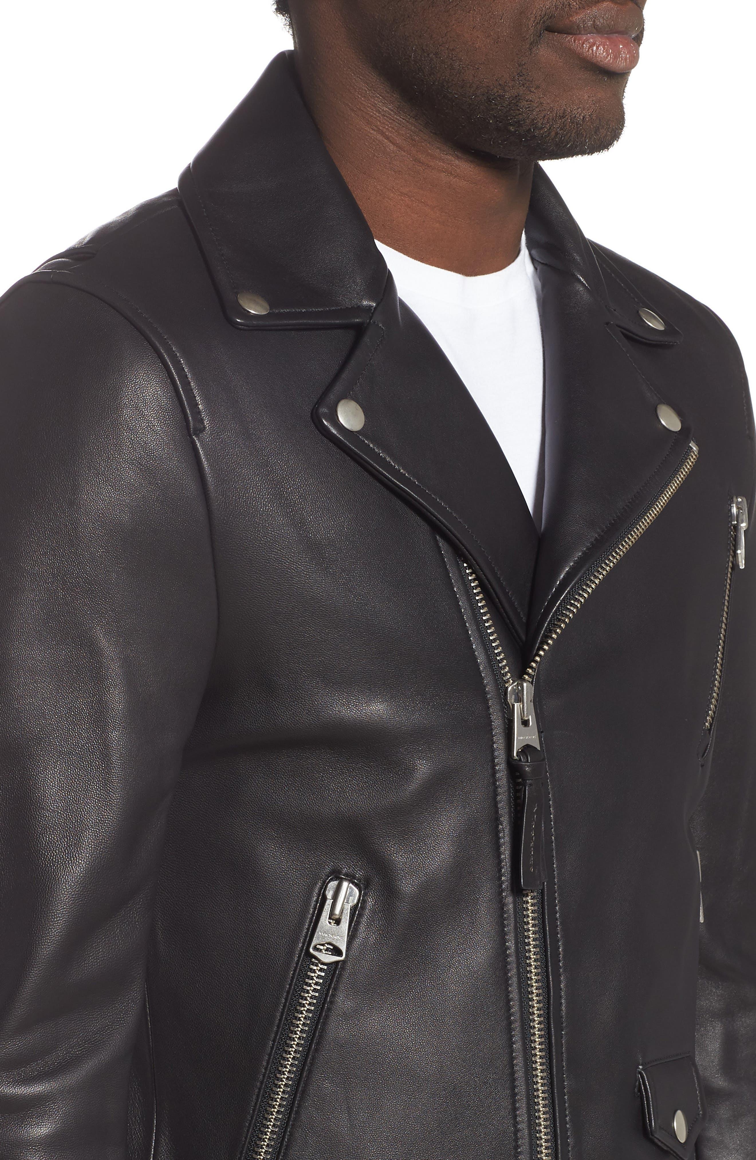 MACKAGE, Fenton Leather Moto Jacket, Alternate thumbnail 4, color, BLACK