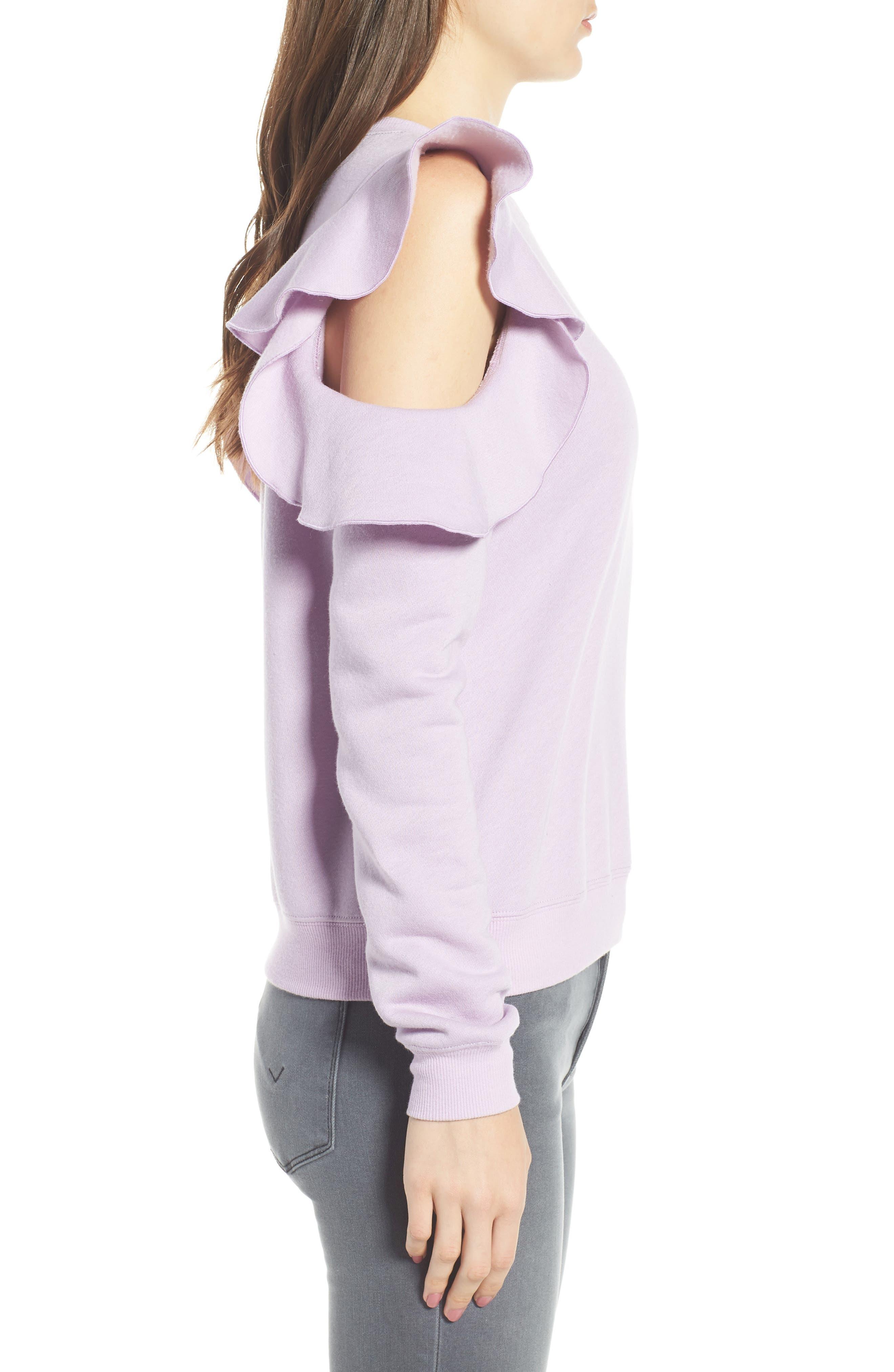 REBECCA MINKOFF, Gracie Cold Shoulder Sweatshirt, Alternate thumbnail 4, color, 502