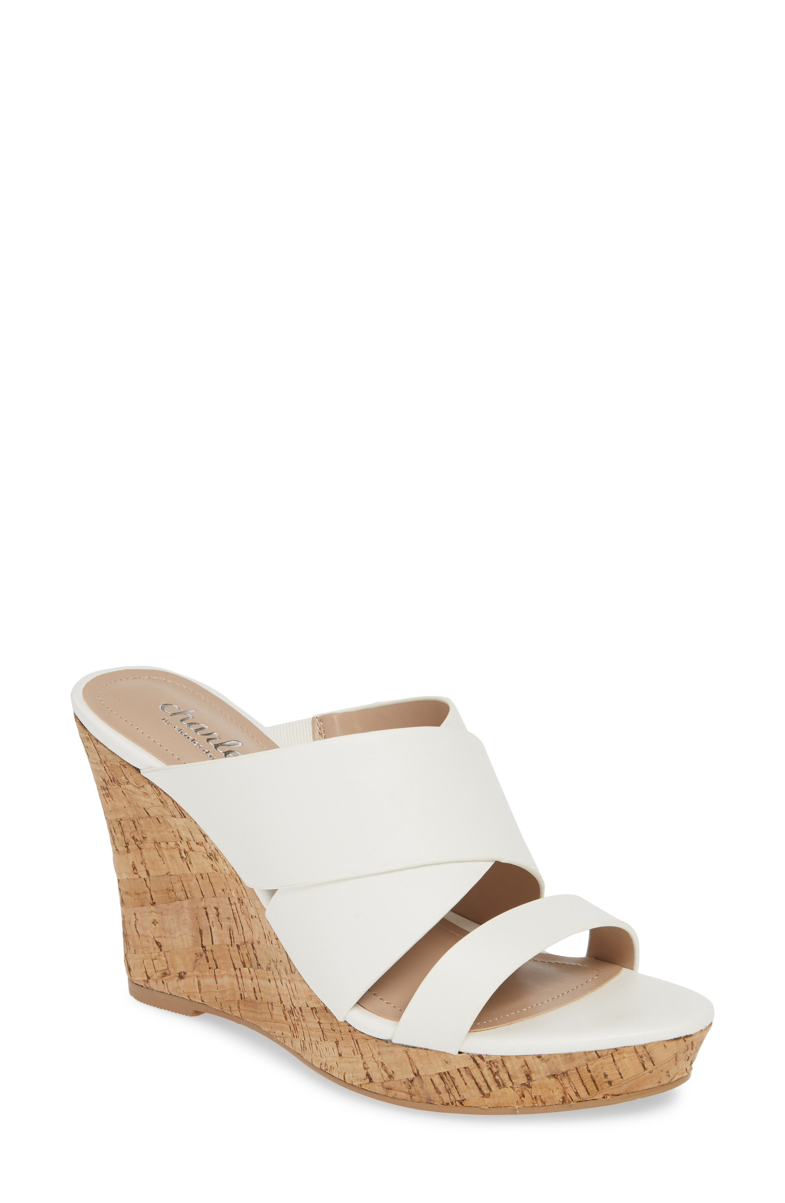 CHARLES BY CHARLES DAVID, Leslie Wedge Sandal, Main thumbnail 1, color, WHITE FAUX LEATHER