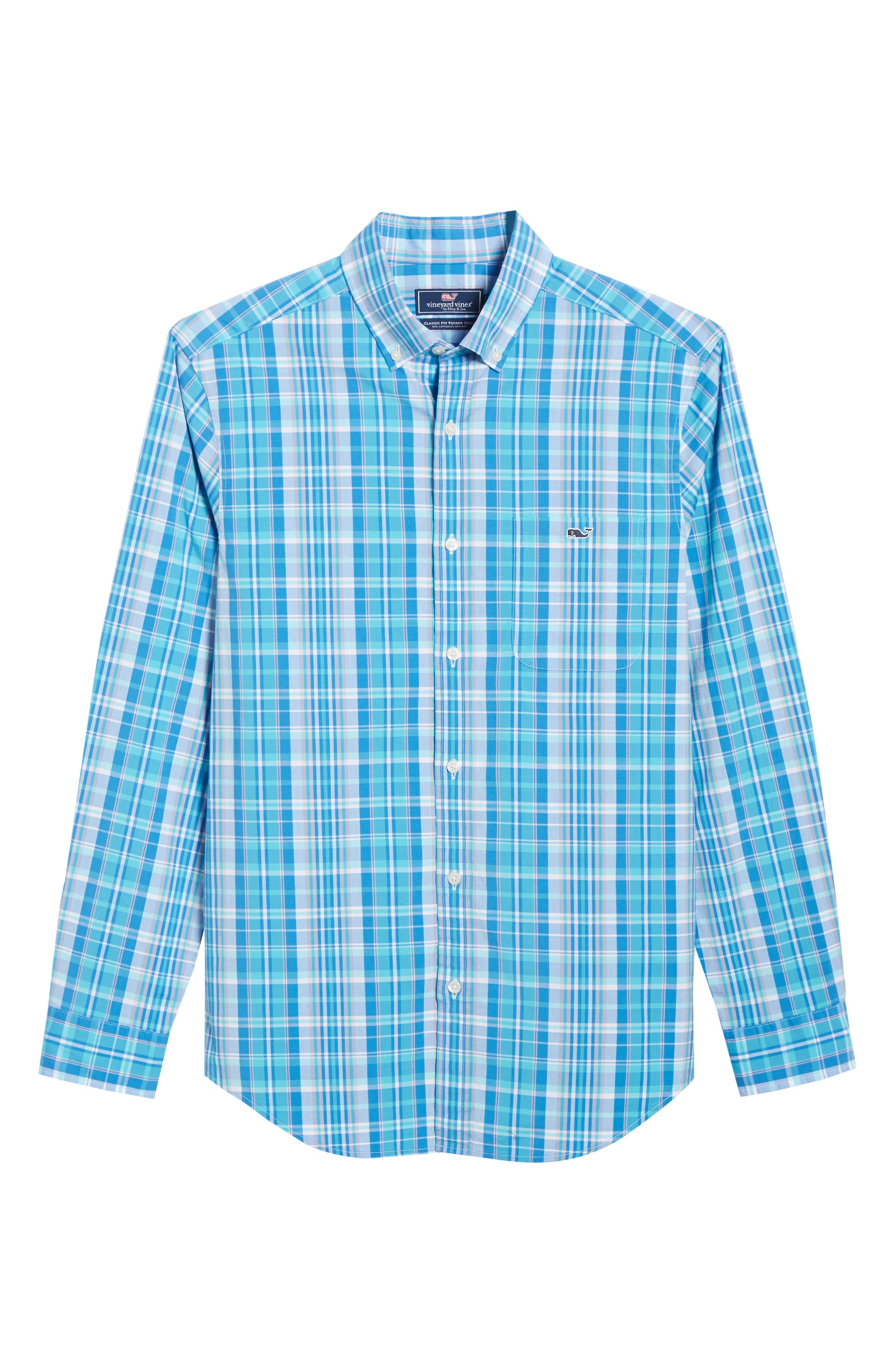 VINEYARD VINES, Tucker Regular Fit Plaid Sport Shirt, Alternate thumbnail 5, color, JAKE BLUE