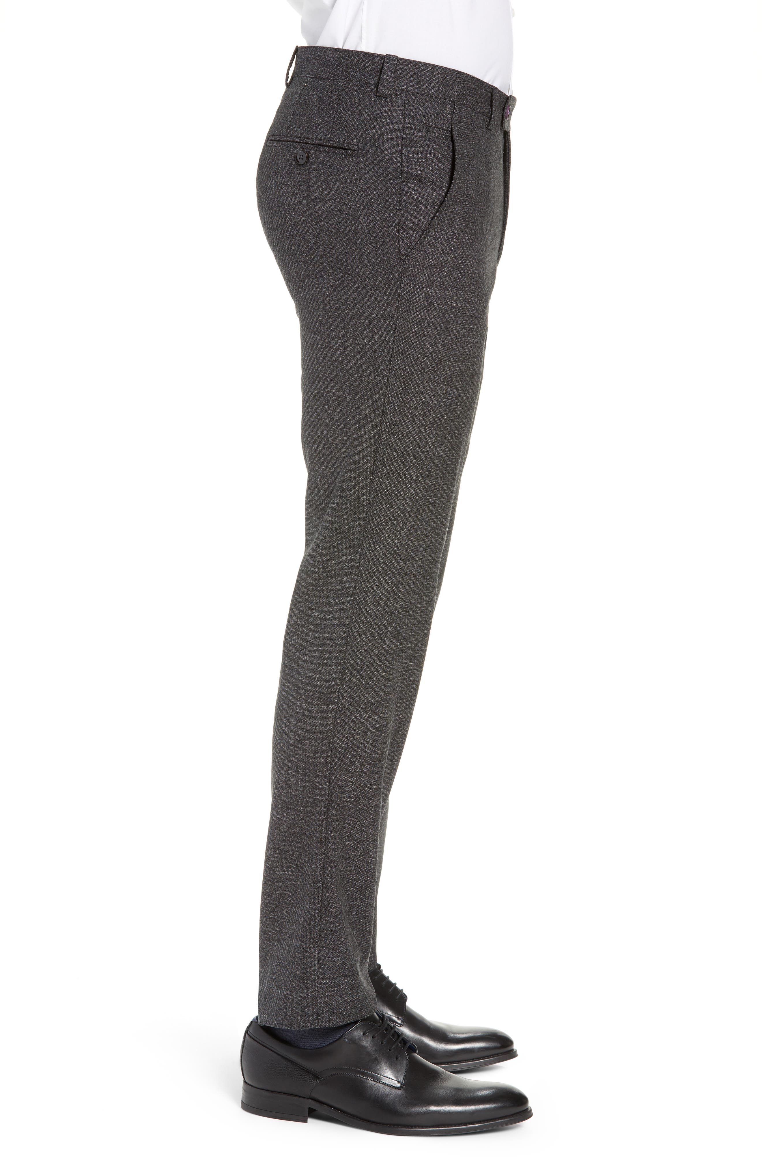 TED BAKER LONDON, Jerome Flat Front Solid Wool Trousers, Alternate thumbnail 3, color, CHARCOAL