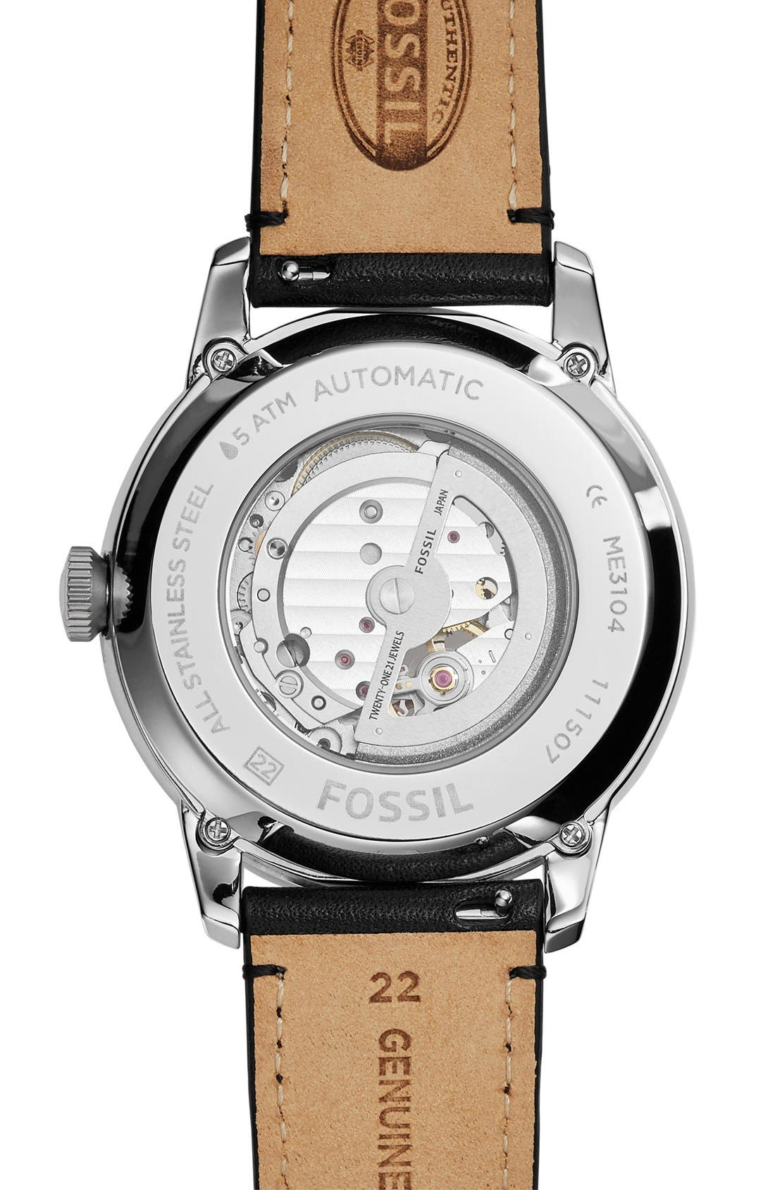 FOSSIL, 'Townsman' Automatic Leather Strap Watch, 44mm, Alternate thumbnail 2, color, 001