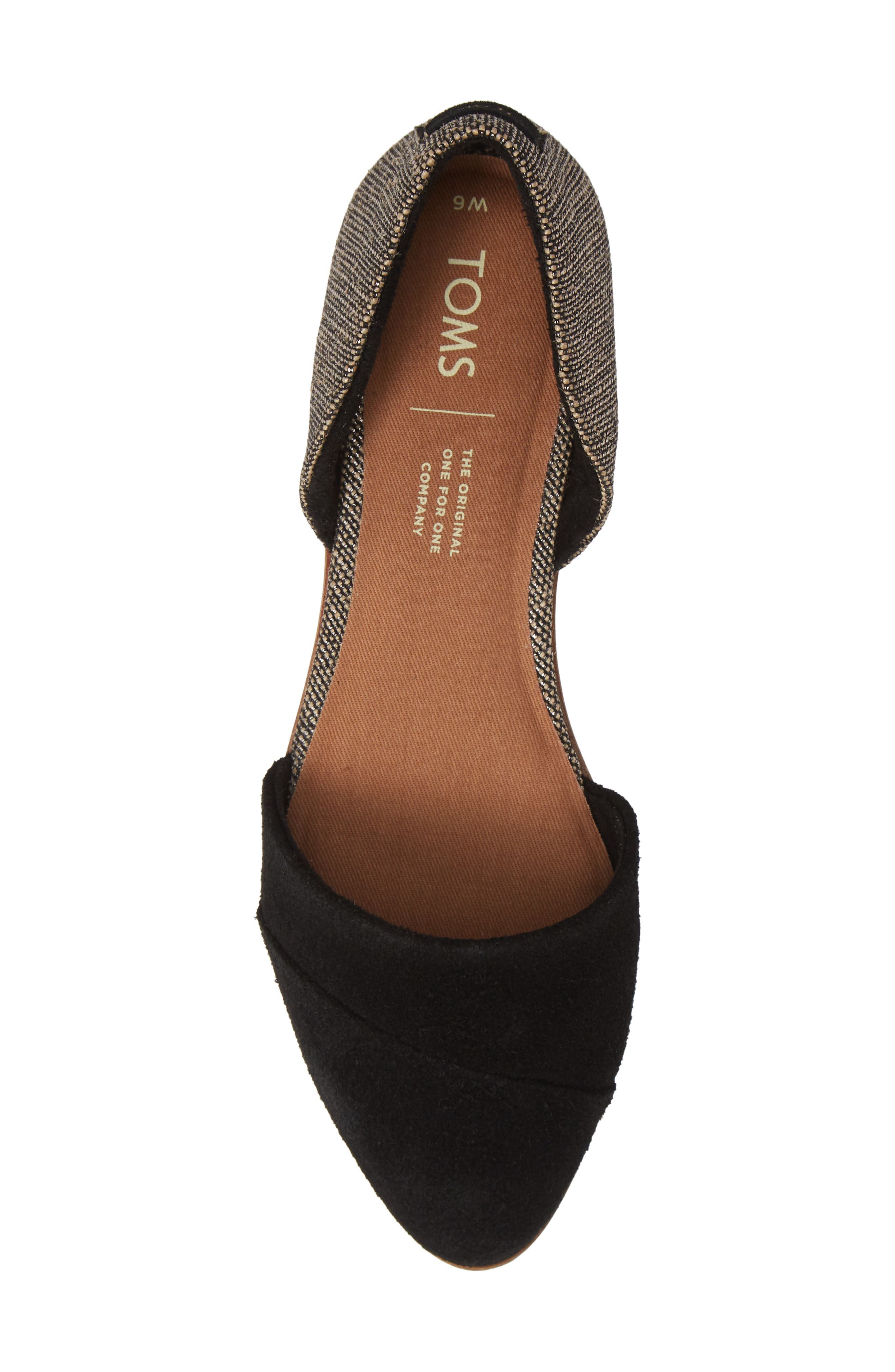 TOMS, Jutti d'Orsay Flat, Alternate thumbnail 5, color, BLACK SUEDE/ METALLIC WOVEN