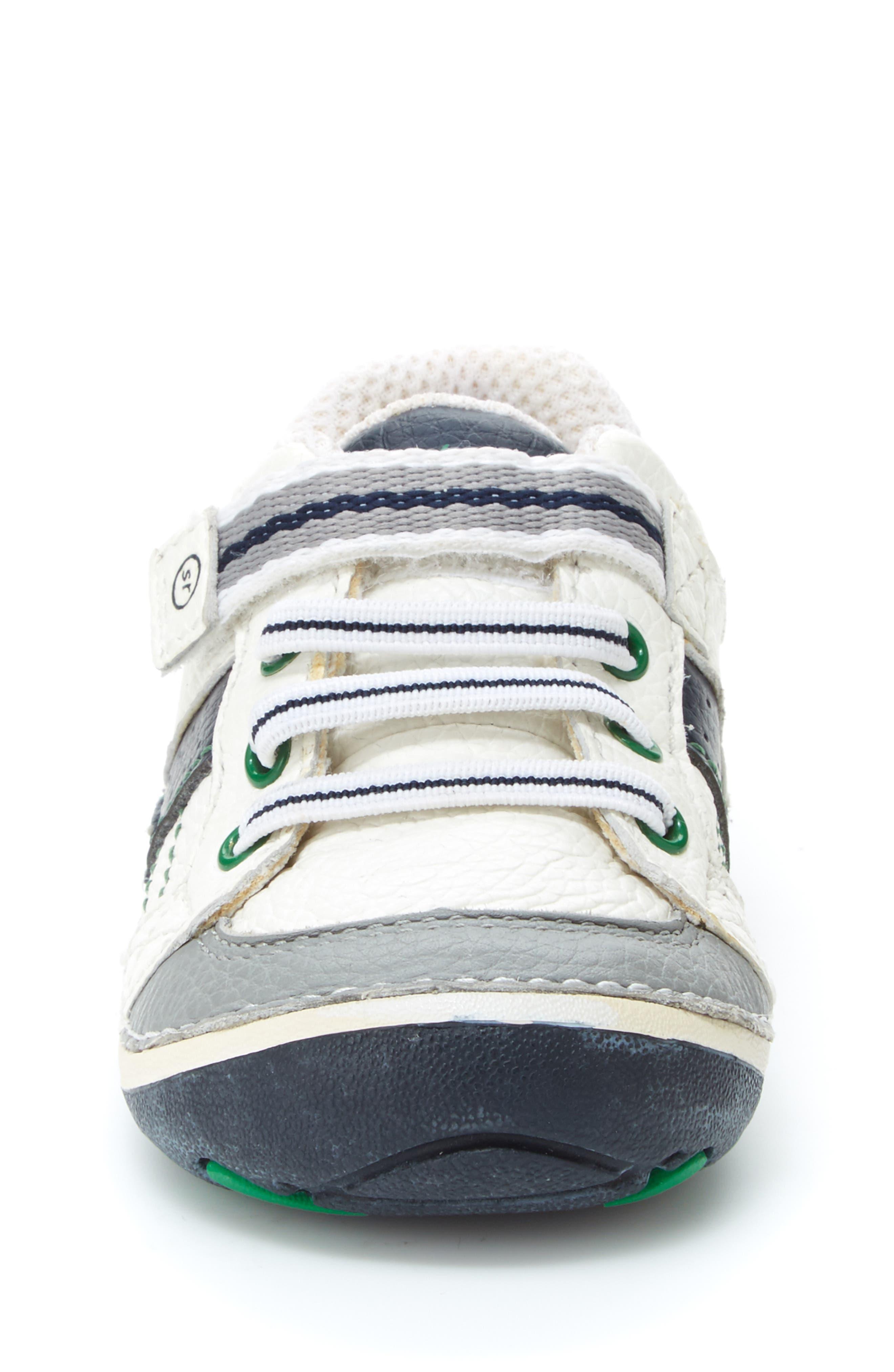 STRIDE RITE, 'Arte' Sneaker, Alternate thumbnail 4, color, WHITE/ NAVY