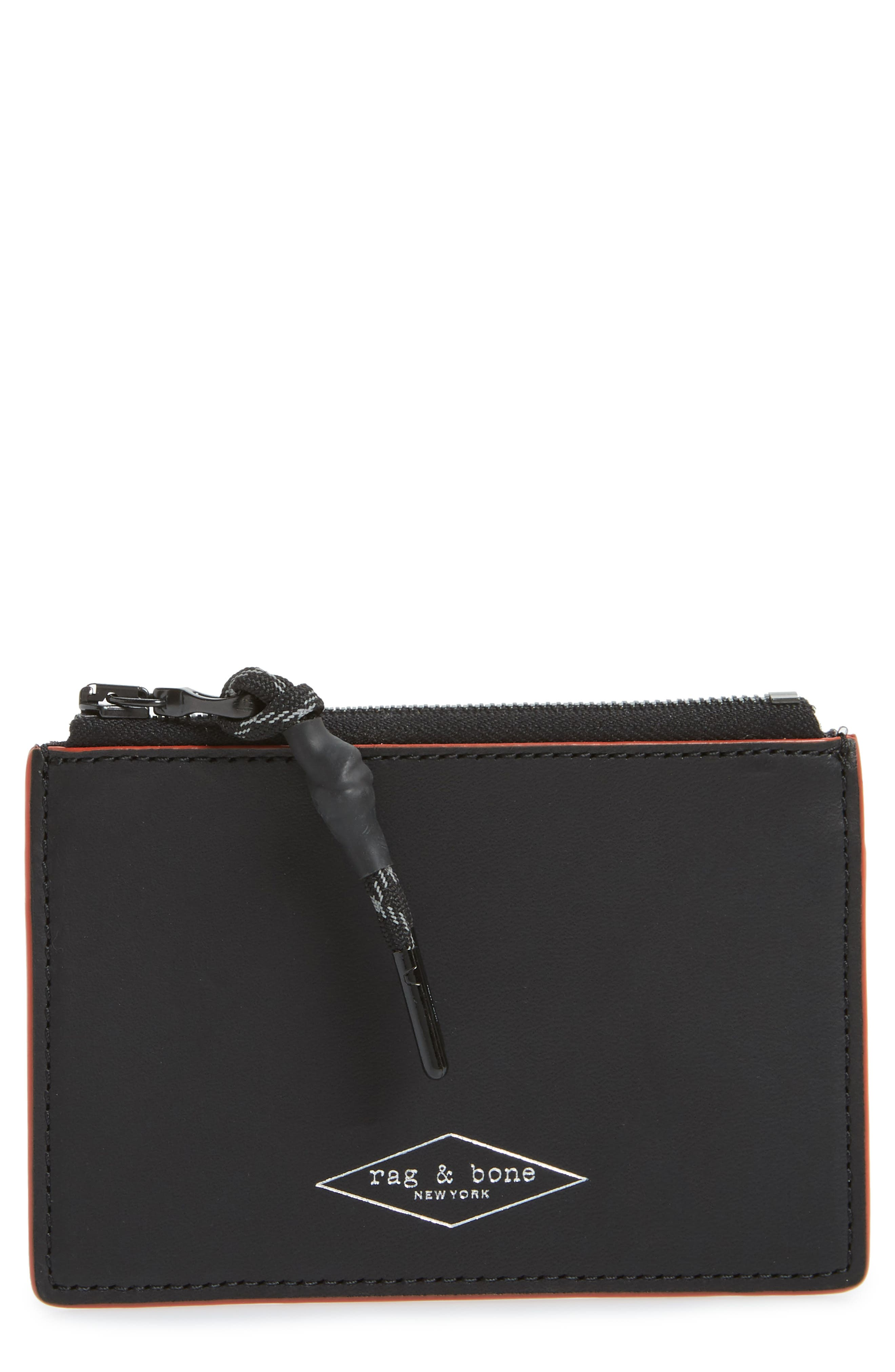 RAG & BONE, Leather Zip Card Case, Main thumbnail 1, color, BLACK COMBO