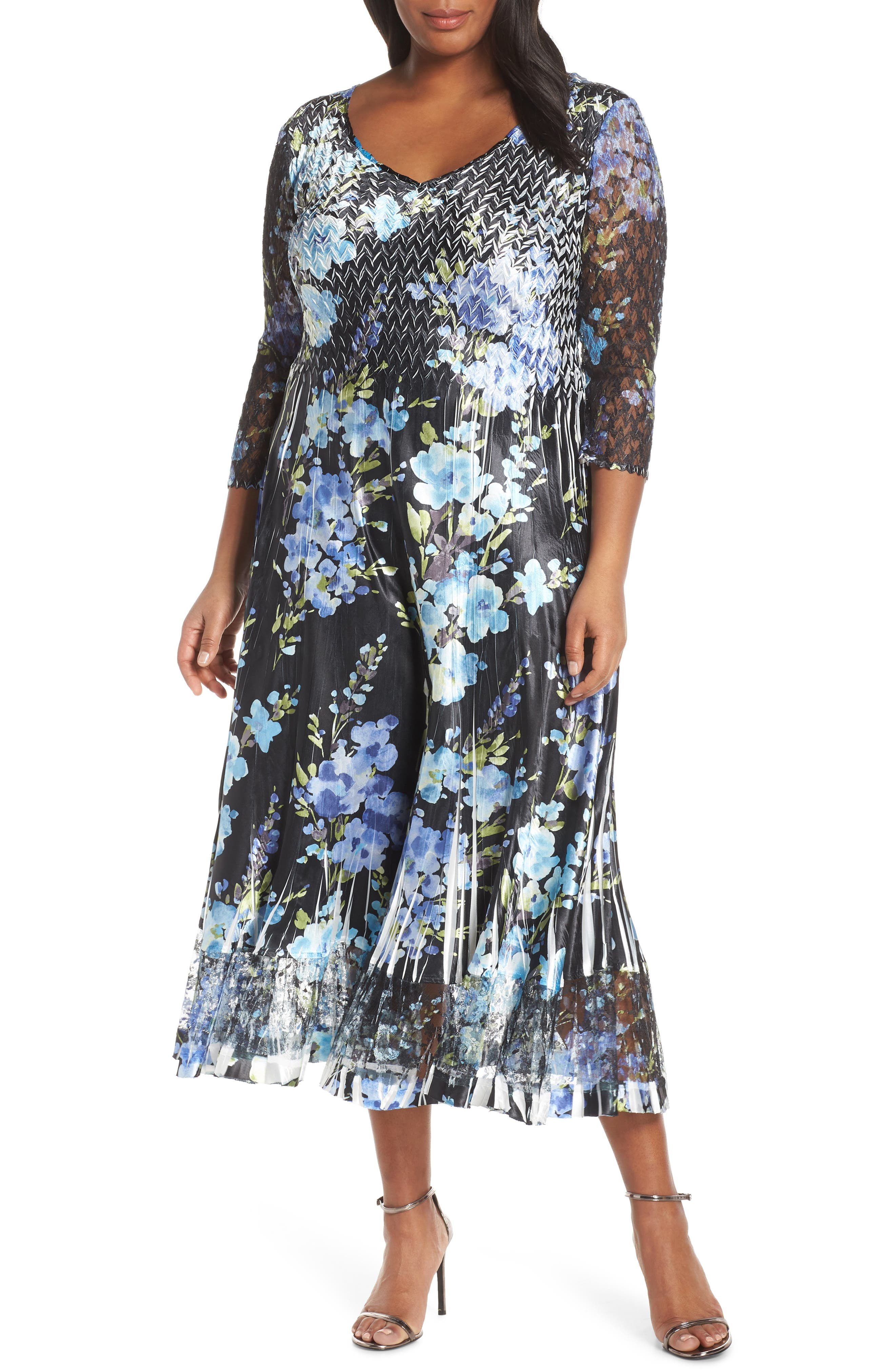 Plus Size Komarov Floral Print V-Neck Charmeuse Tea Length Dress, Black