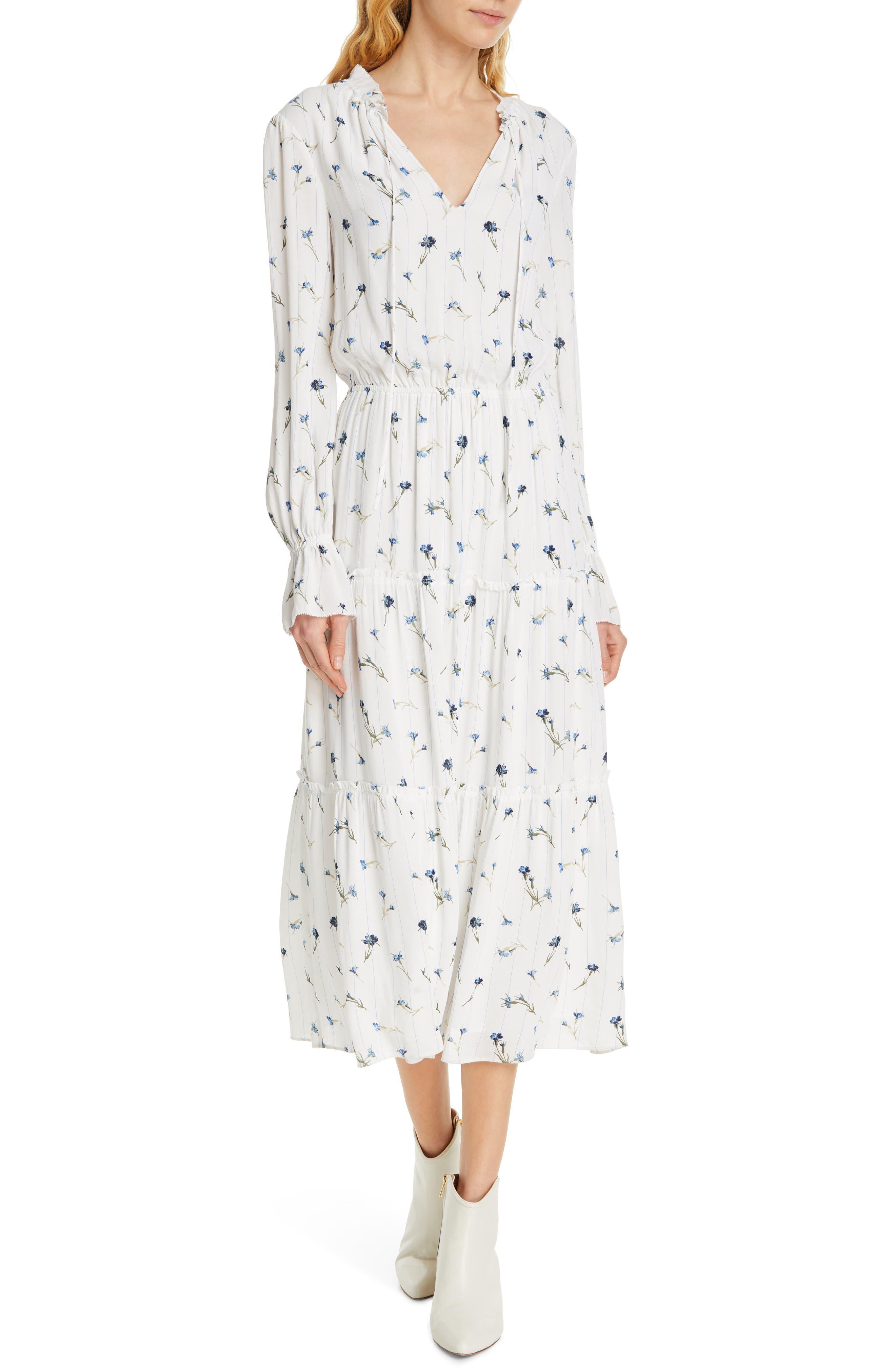 Joie Waneta Long Sleeve Midi Dress, Ivory