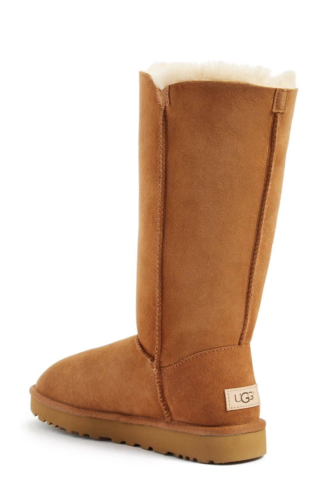 UGG<SUP>®</SUP>, Bailey Button Triplet II Genuine Shearling Boot, Alternate thumbnail 2, color, CHESTNUT SUEDE
