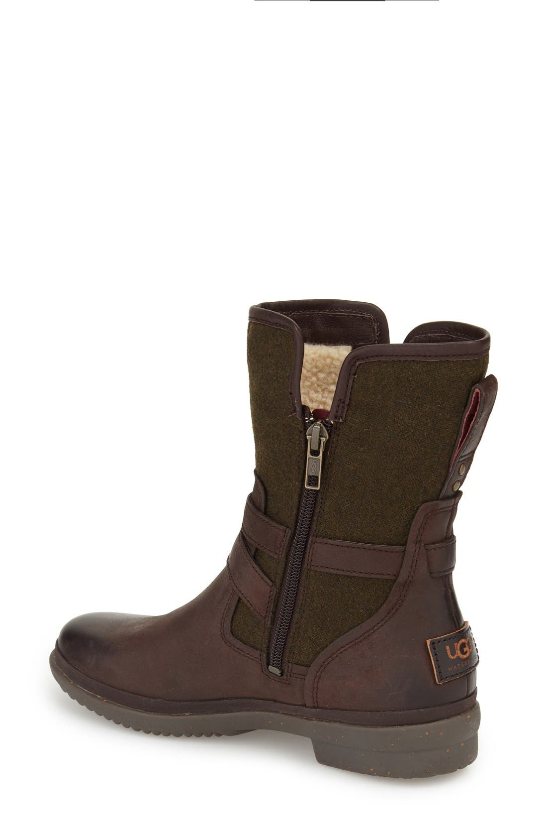 UGG<SUP>®</SUP>, Simmens Waterproof Leather Boot, Alternate thumbnail 4, color, STOUT WOOL