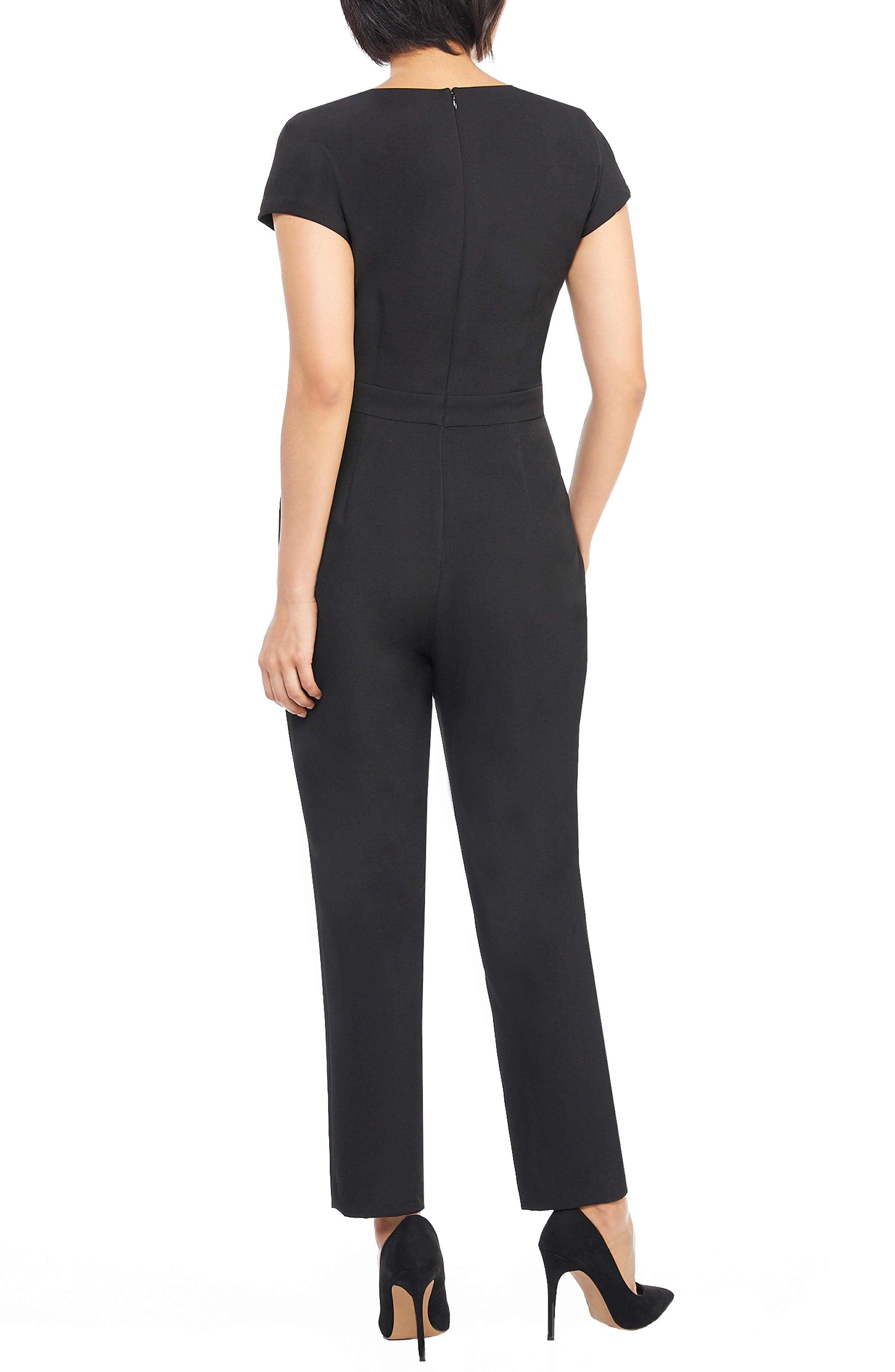MAGGY LONDON, Crepe Jumpsuit, Alternate thumbnail 2, color, 001