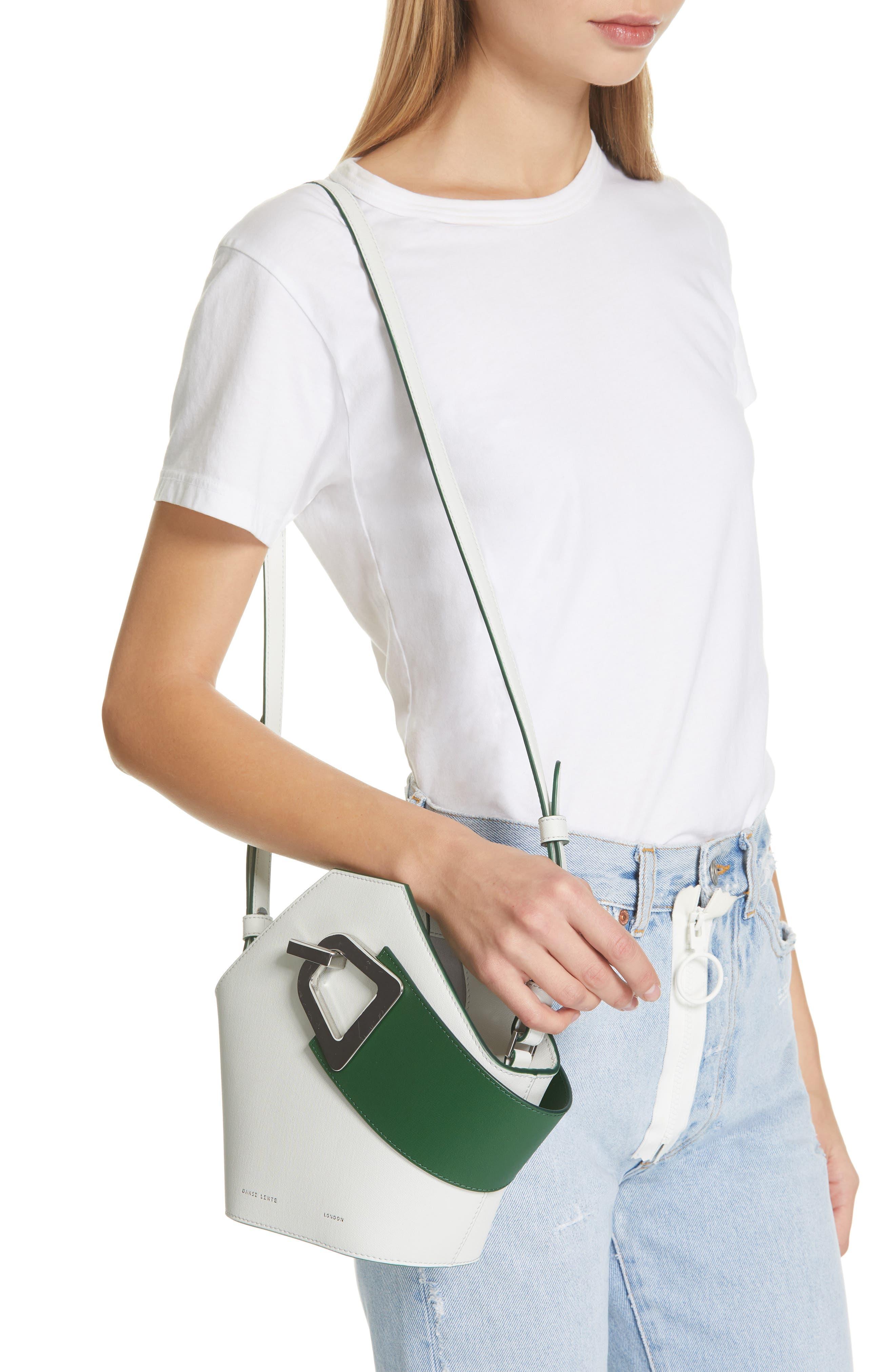 DANSE LENTE, Mini Johnny Leather Bucket Bag, Alternate thumbnail 2, color, MOONSEED