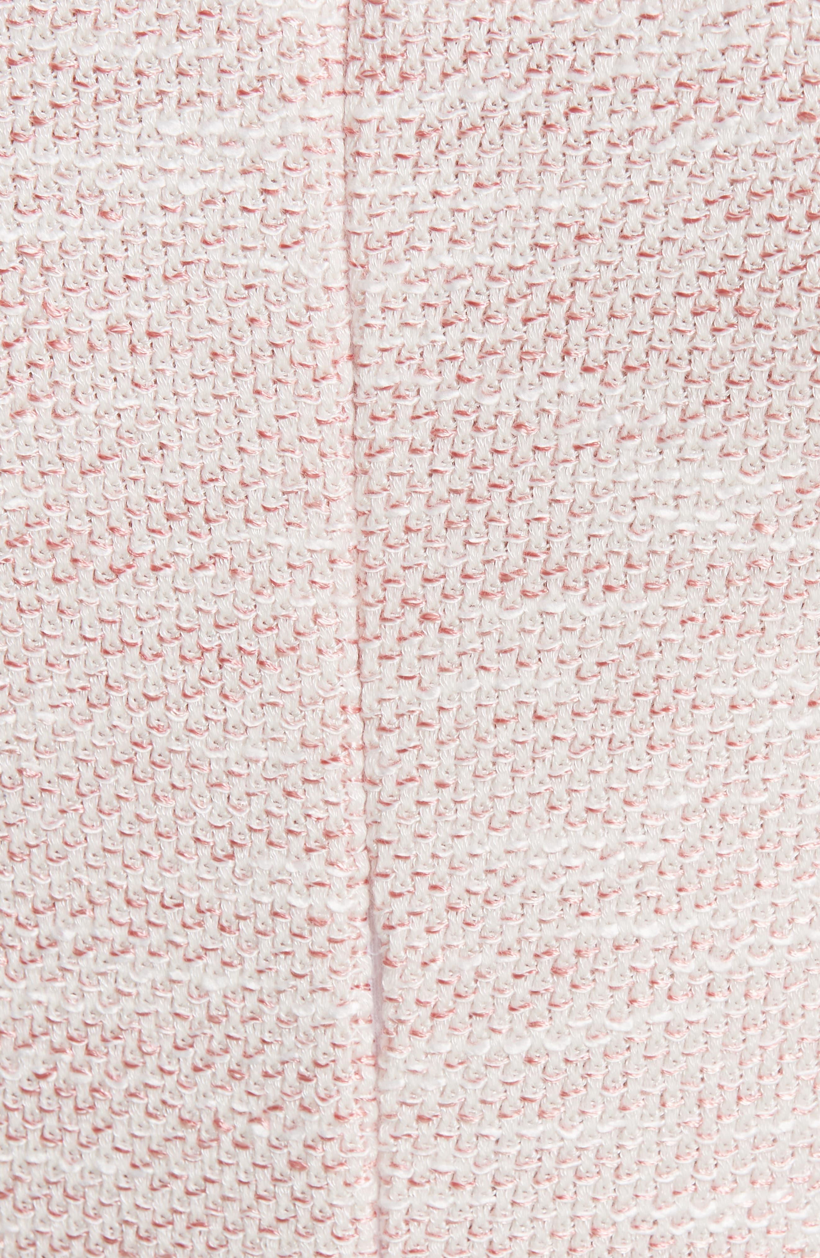 ST. JOHN COLLECTION, Belinda Knit Square Neck Dress, Alternate thumbnail 5, color, WHITE/ CORAL MULTI