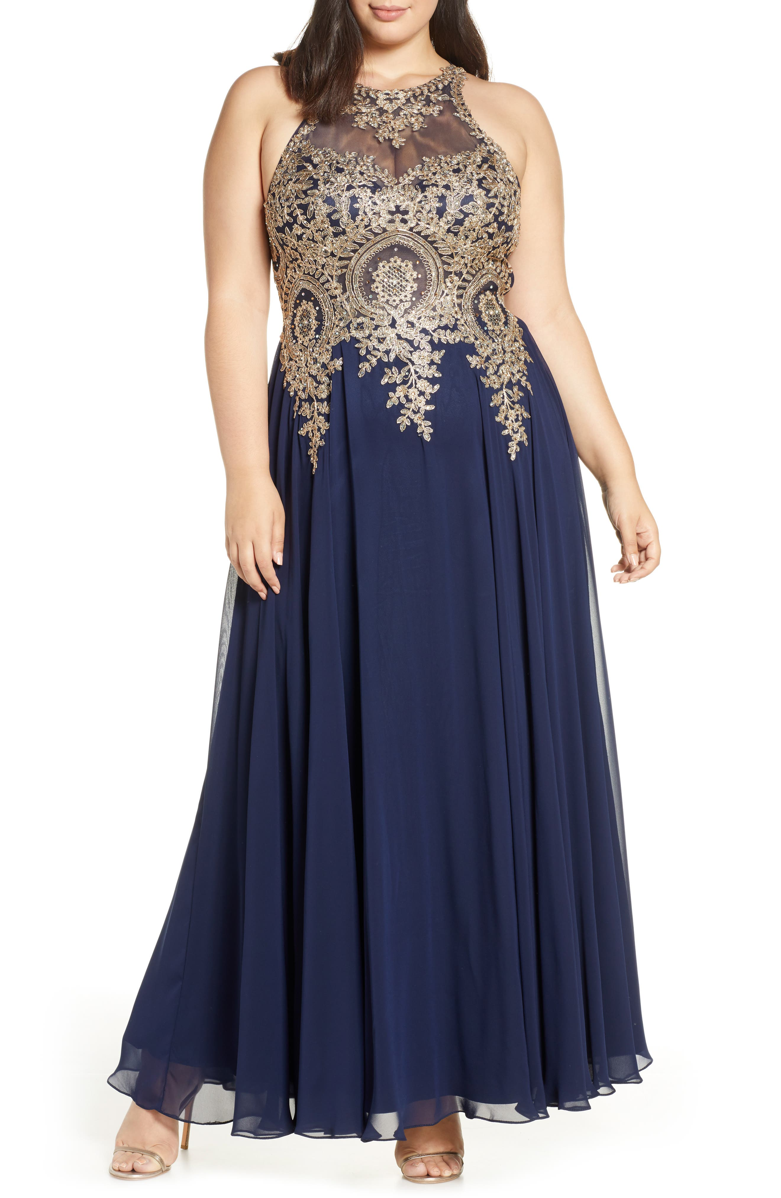 XSCAPE Metallic Embroidered Gown, Main, color, NAVY/ GOLD