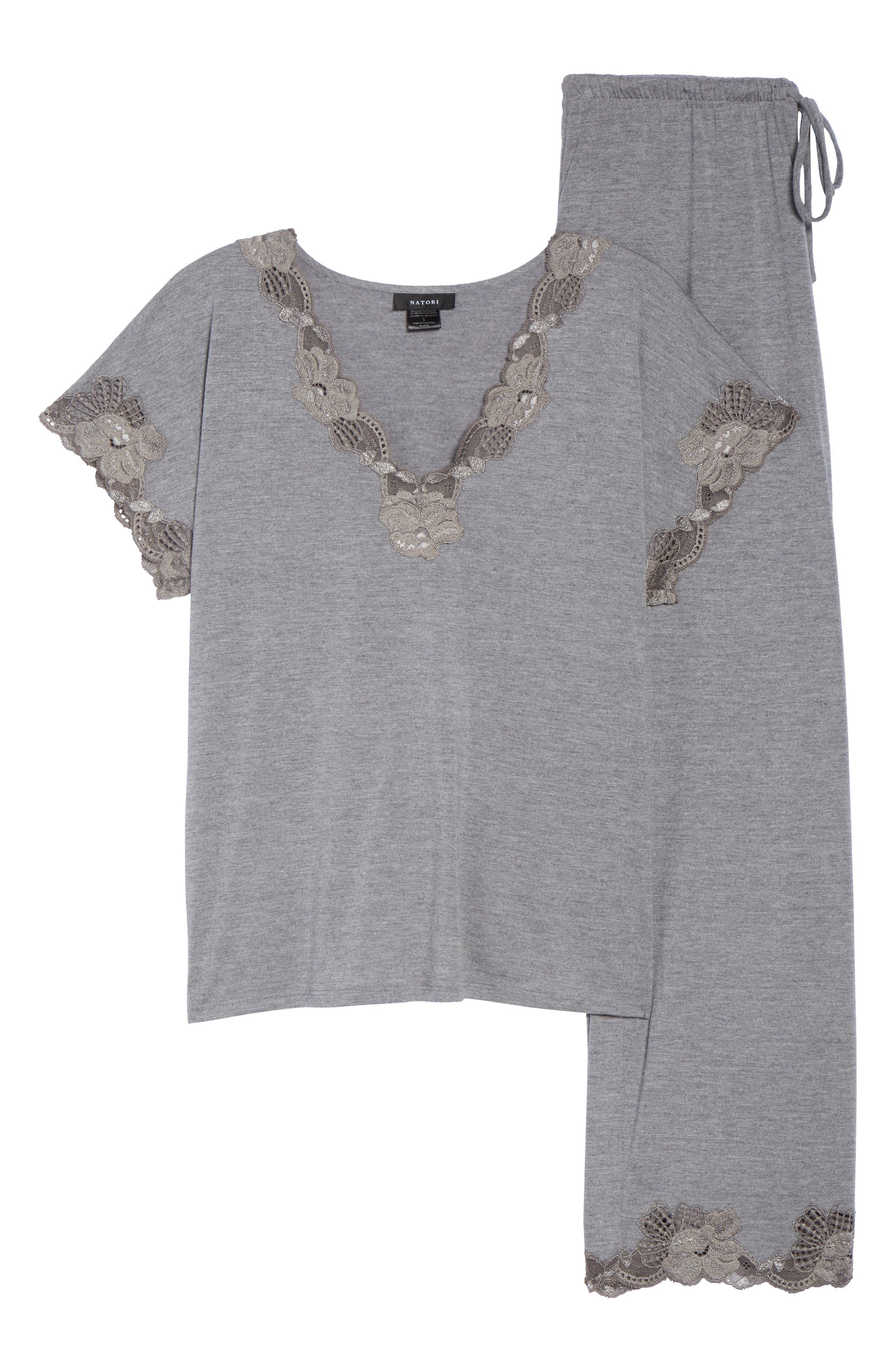 NATORI, 'Zen Floral' Pajama Set, Alternate thumbnail 6, color, 051