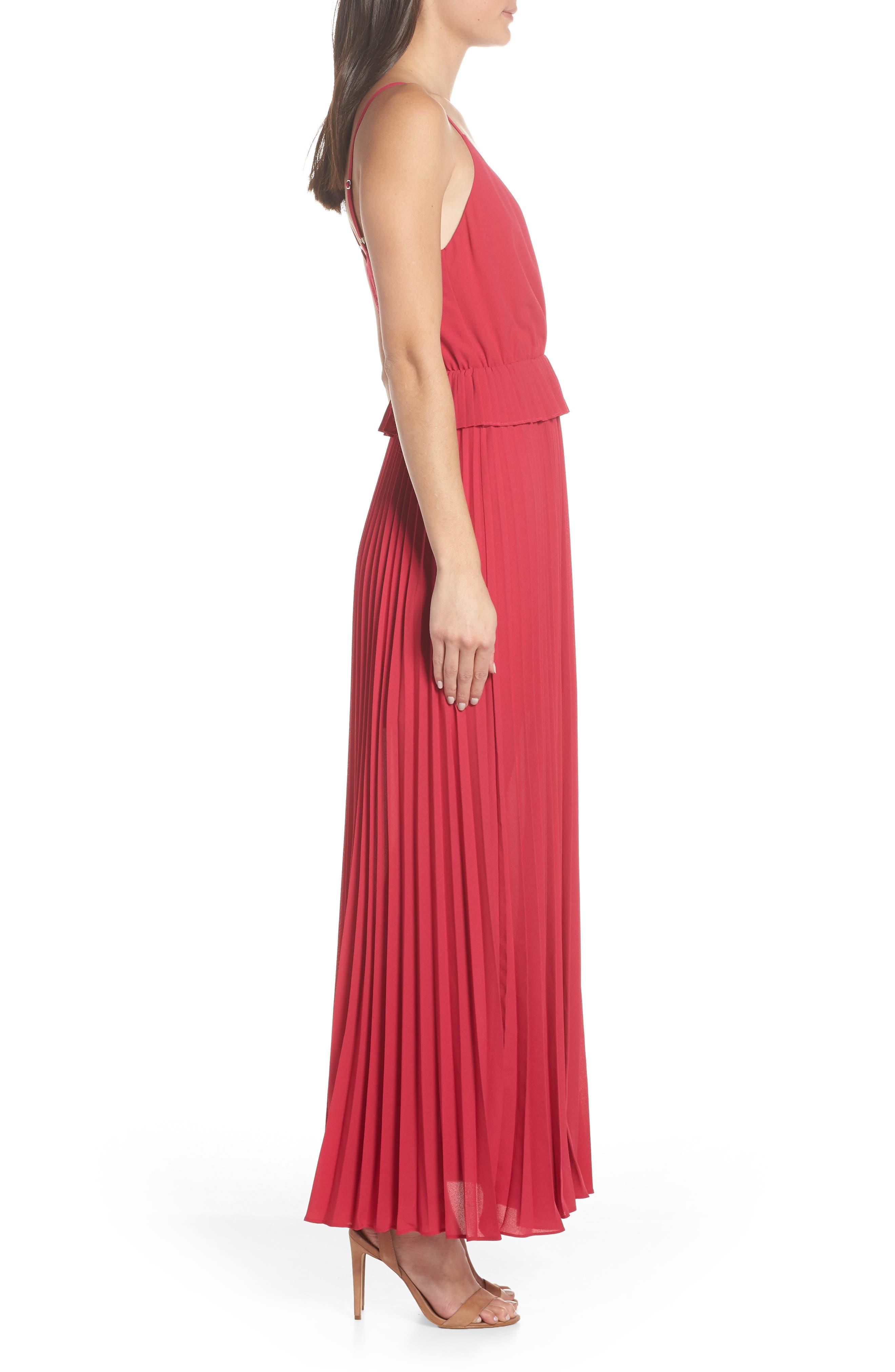 ALI & JAY, Olivet Pleated Maxi Dress, Alternate thumbnail 4, color, RASPBERRY