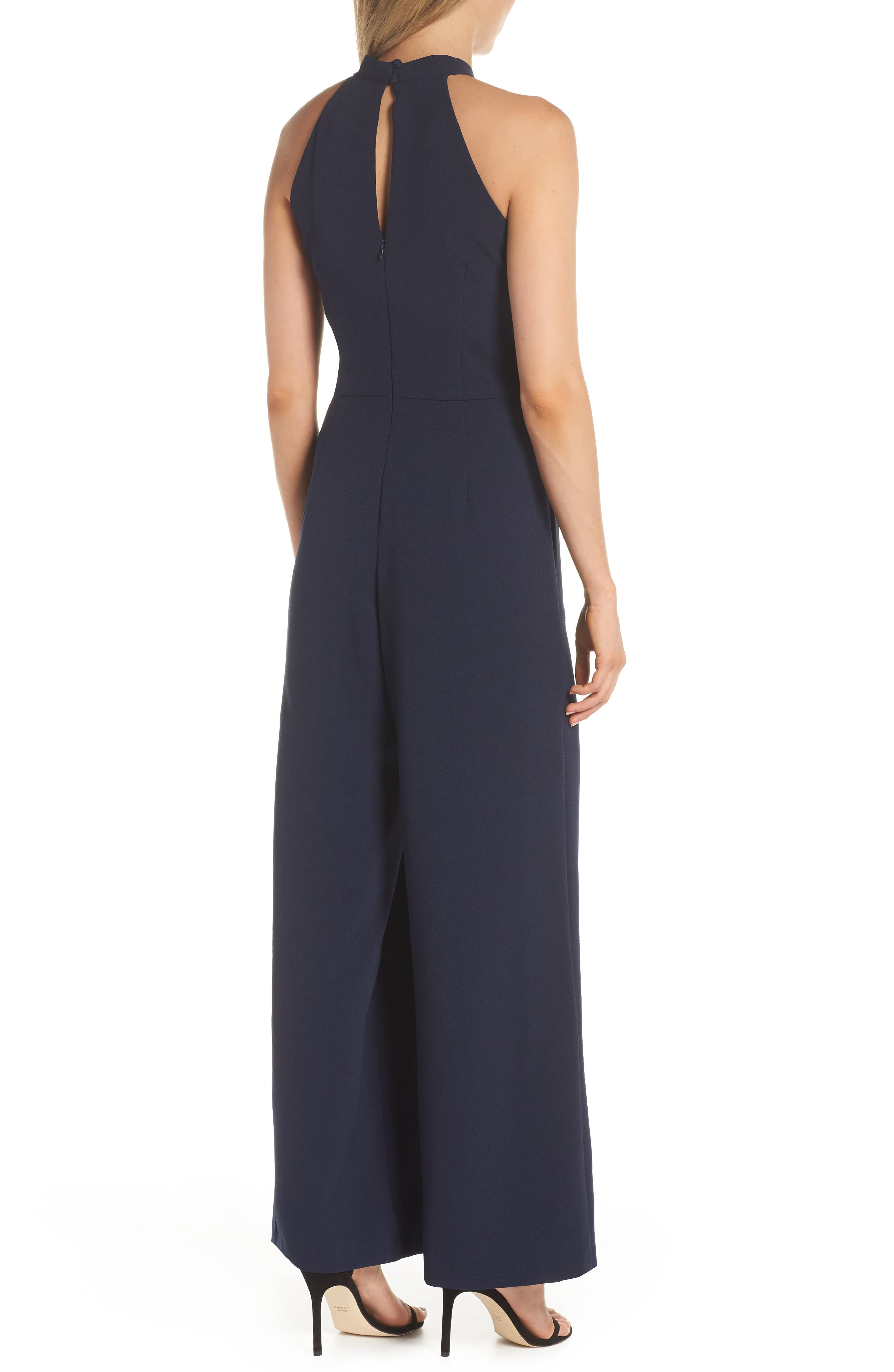 JULIA JORDAN, Halter Wide Leg Jumpsuit, Alternate thumbnail 2, color, NAVY