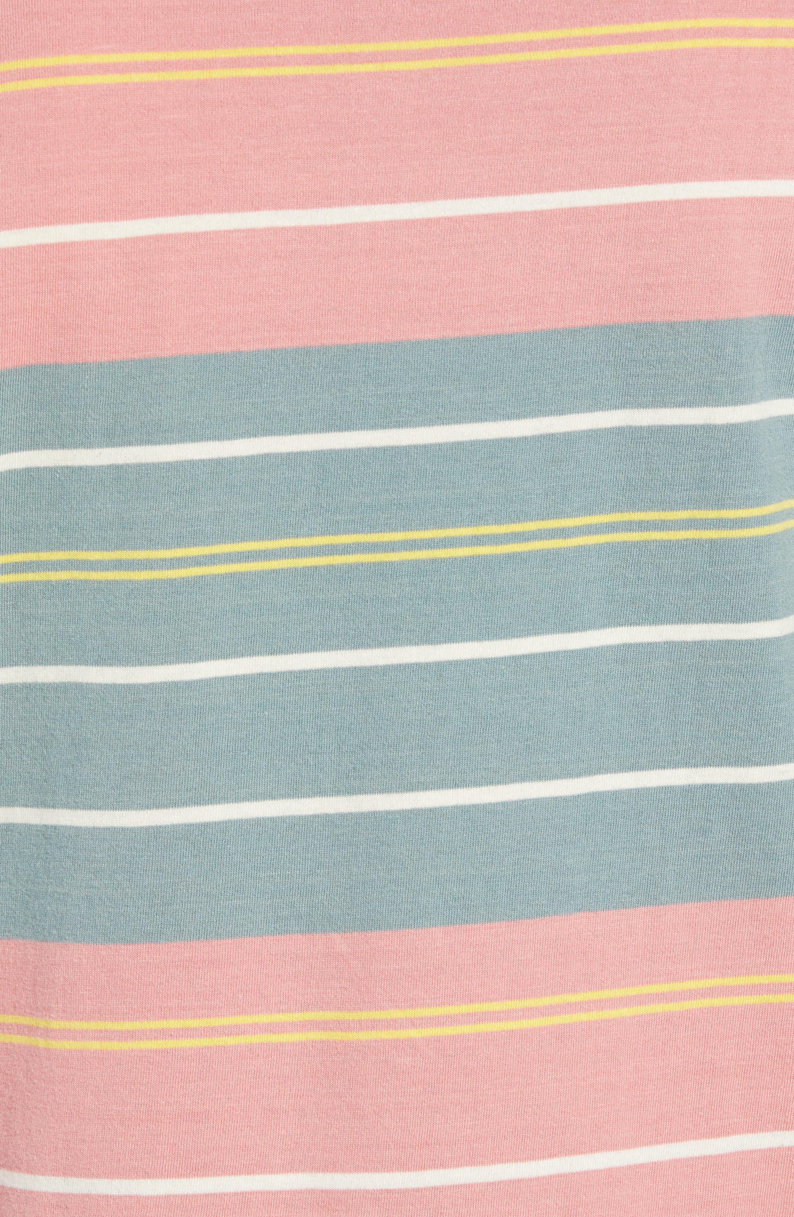 RVCA, Rusholme Stripe T-Shirt, Alternate thumbnail 5, color, PINE TREE