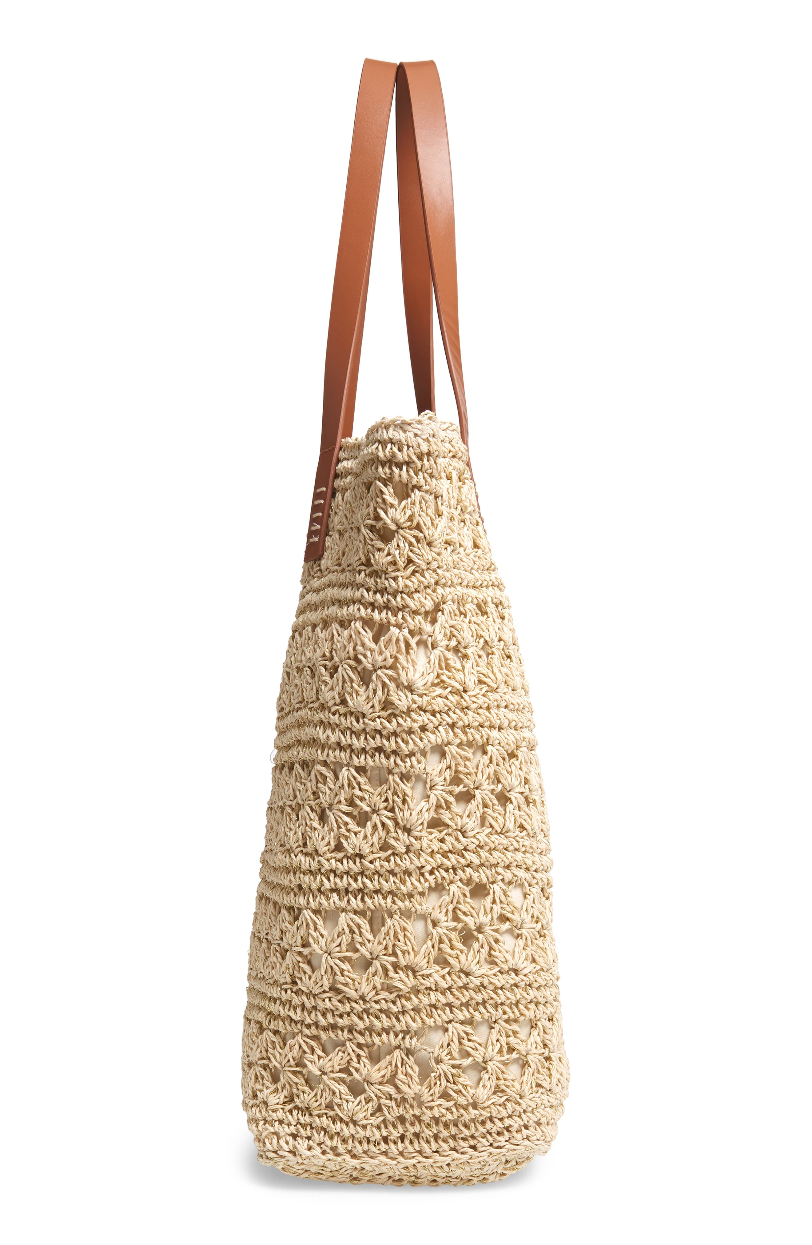 NORDSTROM, Packable Woven Raffia Tote, Alternate thumbnail 6, color, NATURAL
