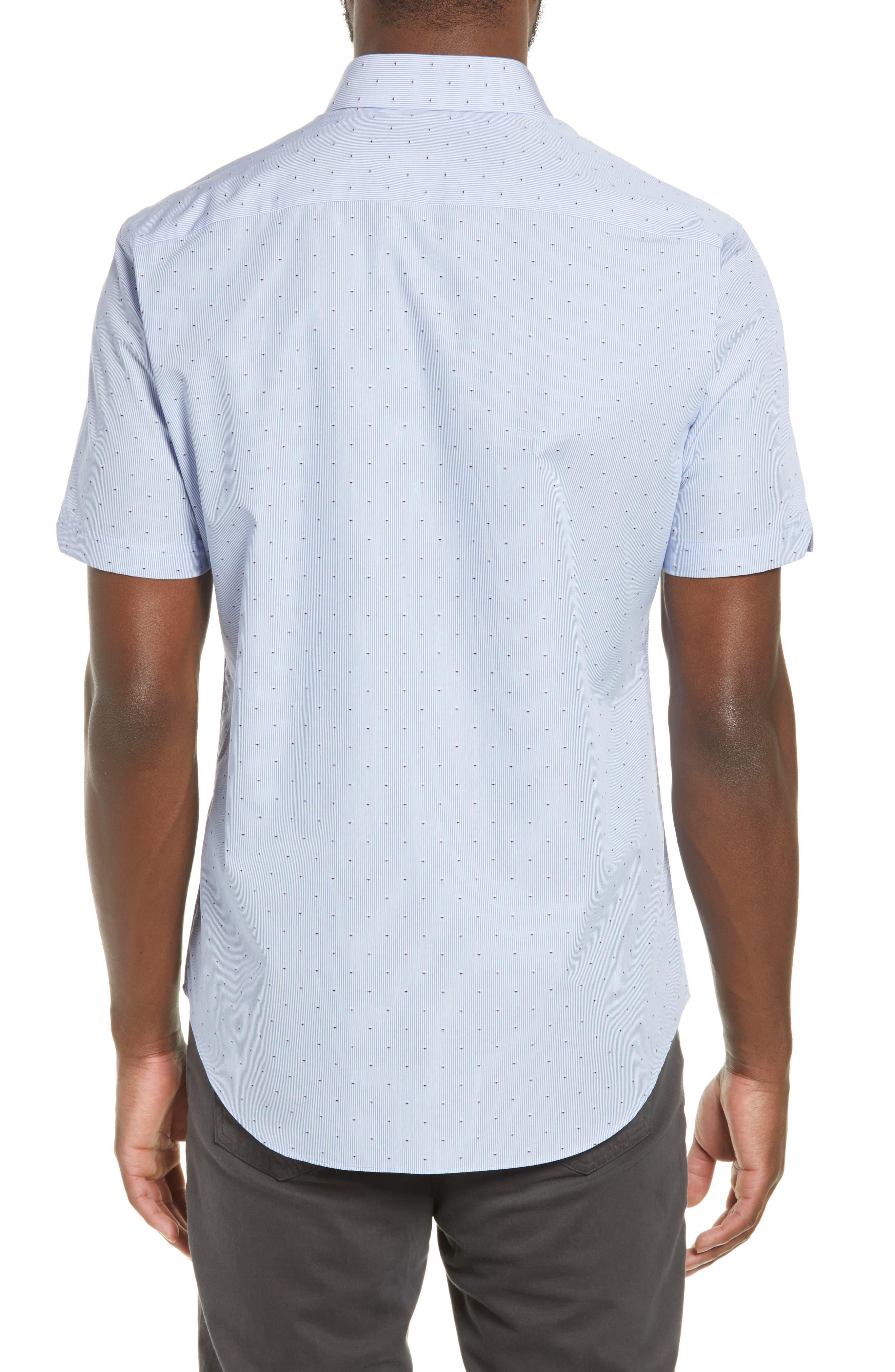 ZACHARY PRELL, Grogan Regular Fit Dobby Stripe Sport Shirt, Alternate thumbnail 3, color, BLUE