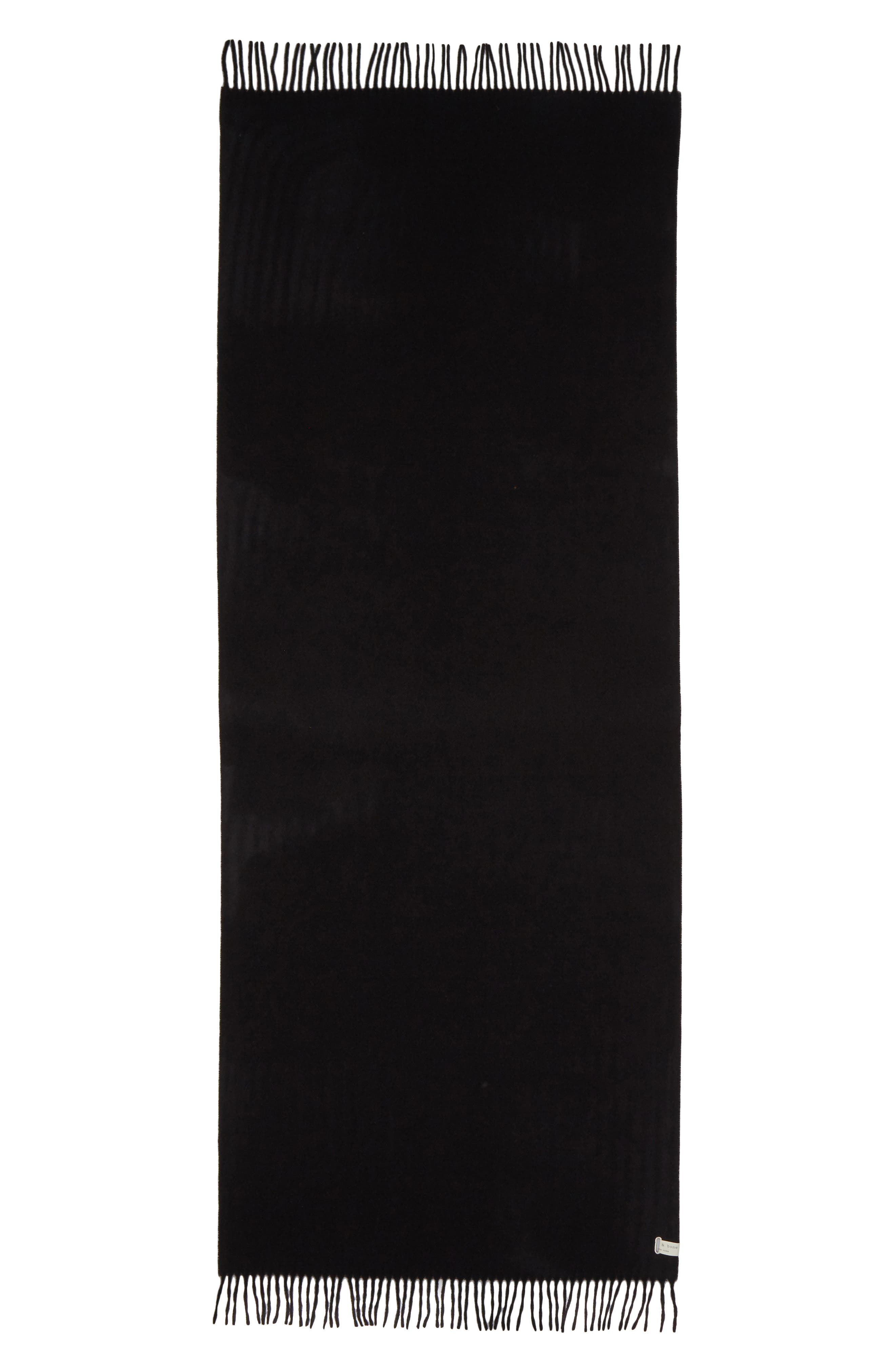 RAG & BONE, Classic Wool Scarf, Main thumbnail 1, color, BLACK