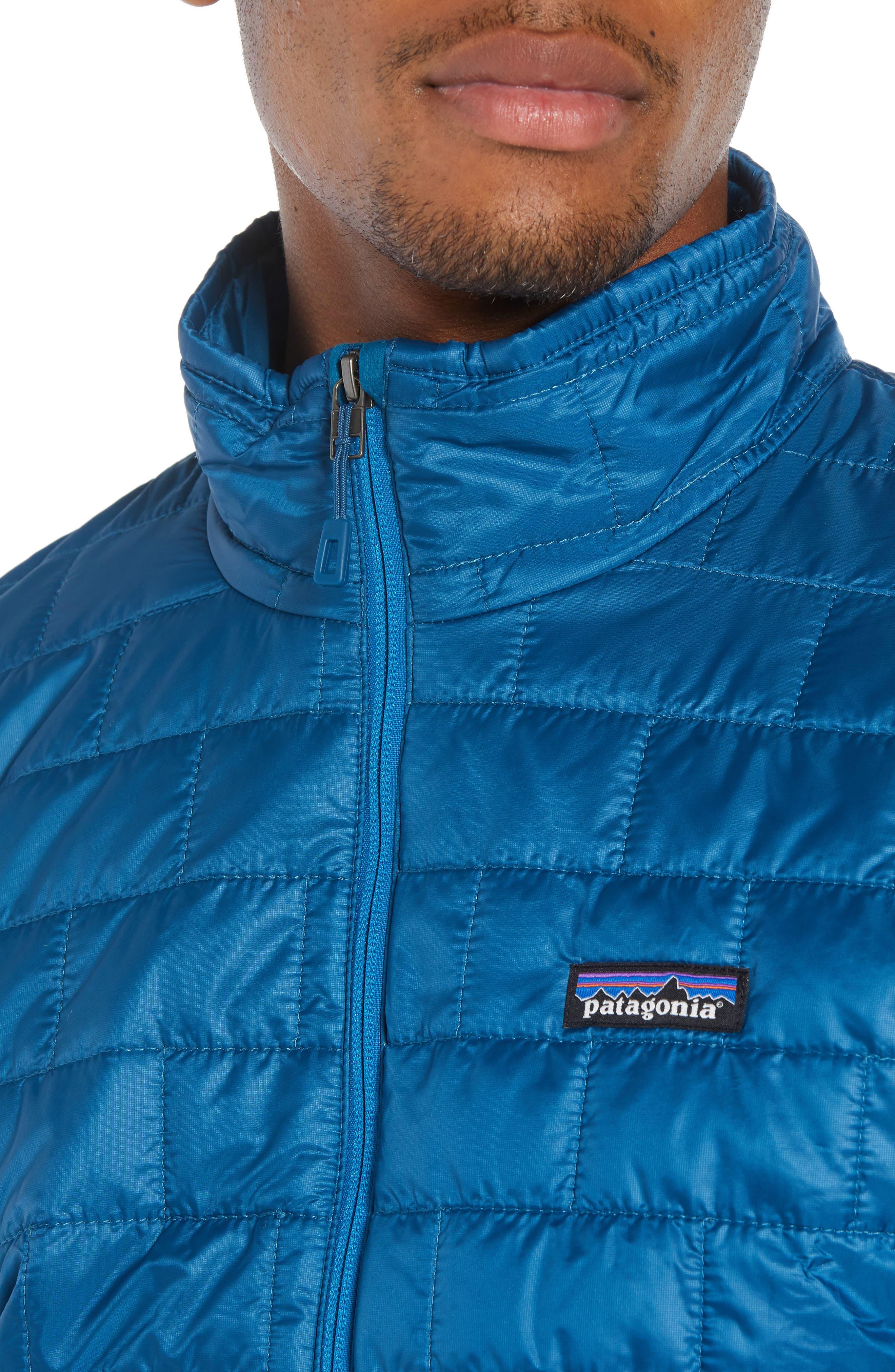 PATAGONIA, 'Nano Puff<sup>®</sup>' Water Resistant Jacket, Alternate thumbnail 5, color, BIG SUR BLUE W/ BALKAN BLUE