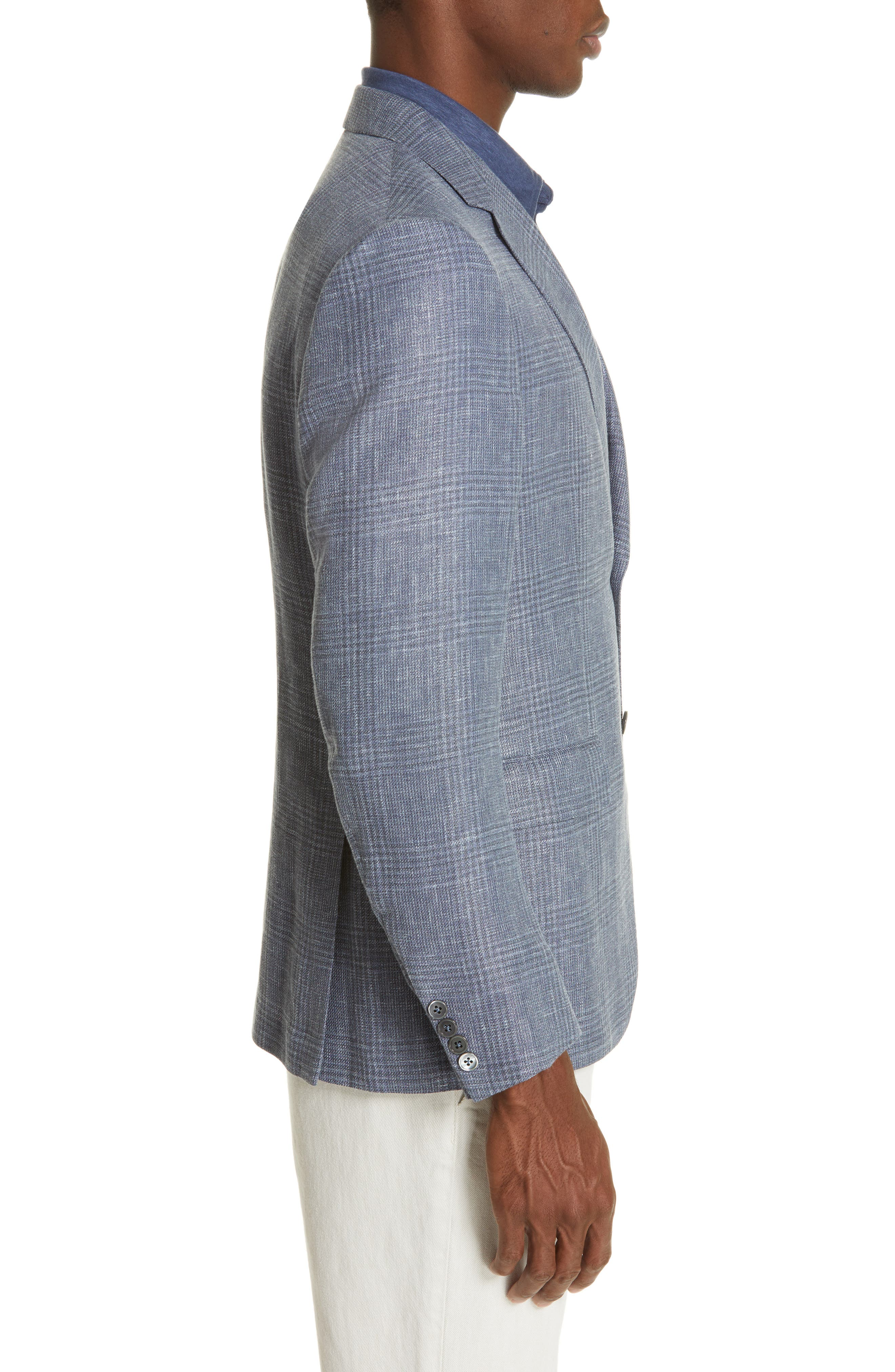 ERMENEGILDO ZEGNA, Milano Classic Fit Plaid Sport Coat, Alternate thumbnail 3, color, BLUE
