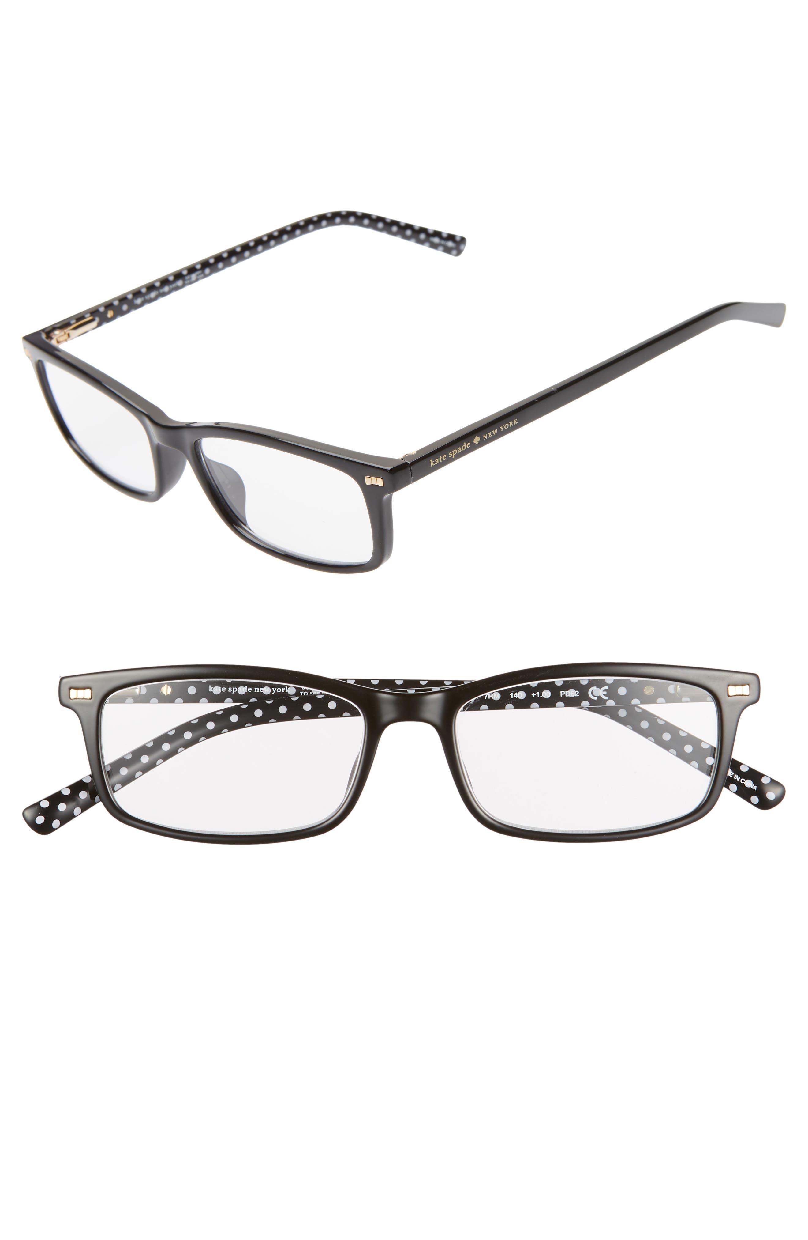 KATE SPADE NEW YORK, jodie 50mm rectangular reading glasses, Main thumbnail 1, color, BLACK POLKA DOT