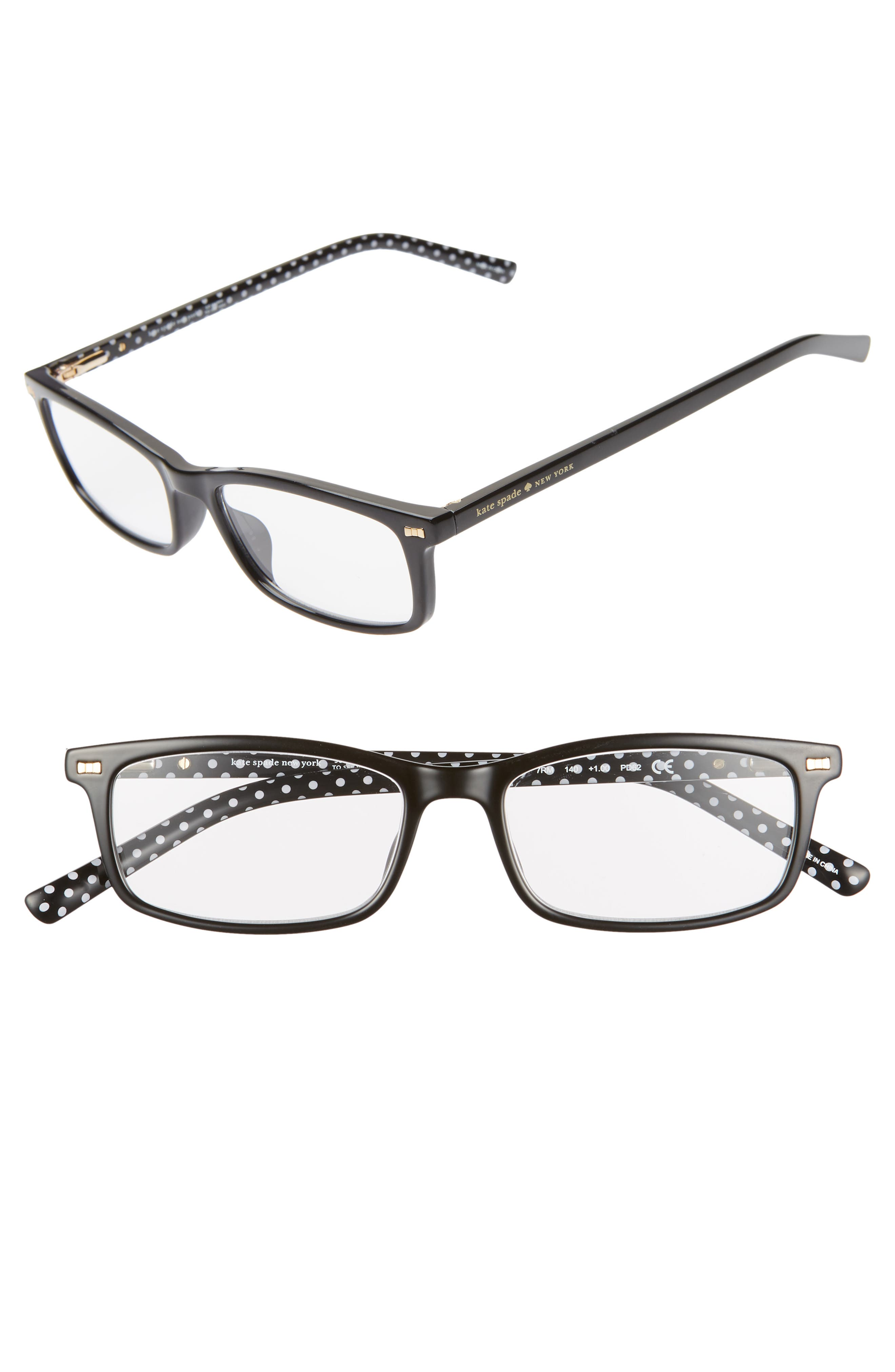 KATE SPADE NEW YORK jodie 50mm rectangular reading glasses, Main, color, BLACK POLKA DOT