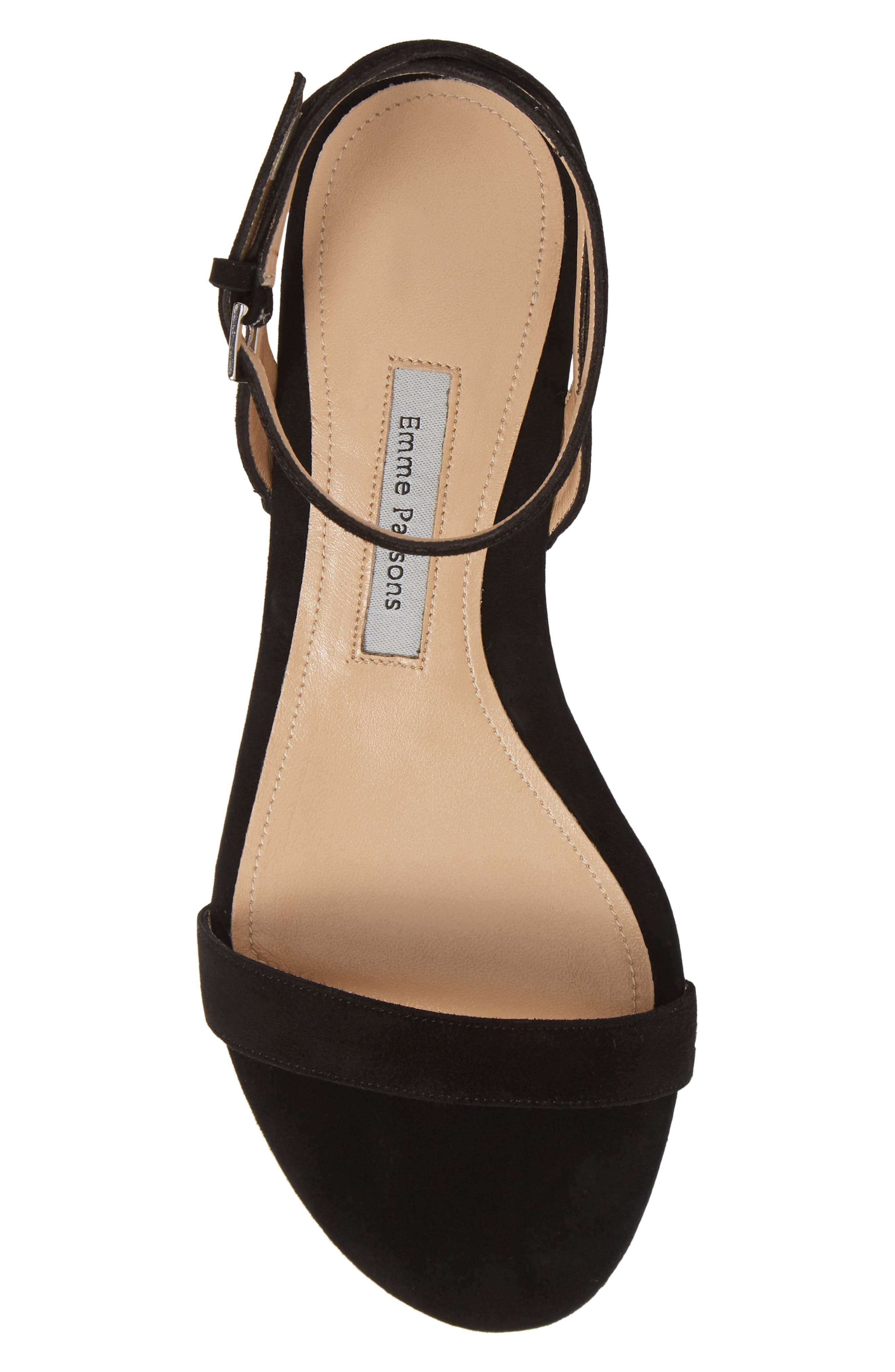 EMME PARSONS, One Ankle Strap Flat Sandal, Alternate thumbnail 5, color, BLACK