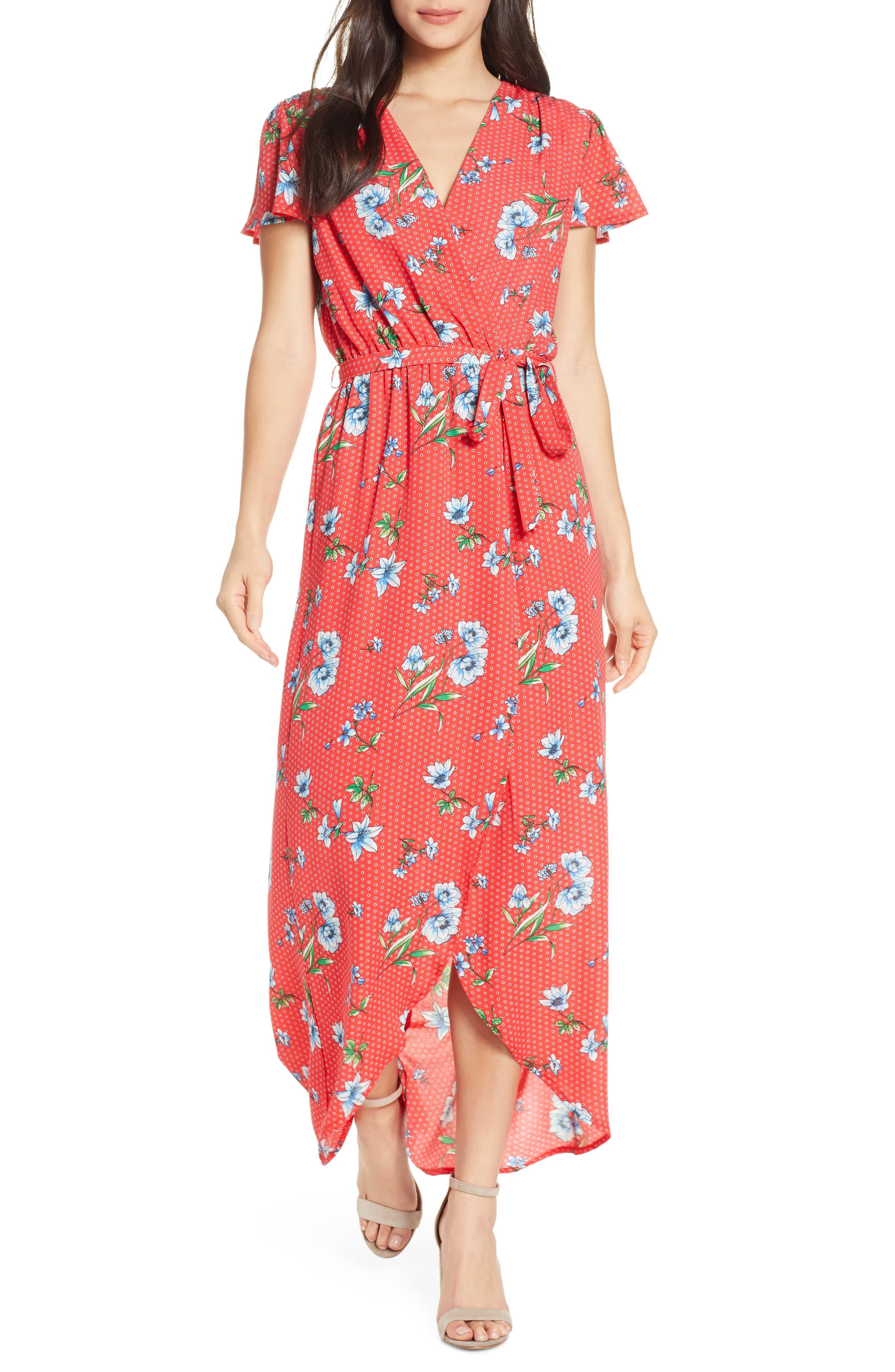 Fraiche By J High/low Faux Wrap Maxi Dress, Red