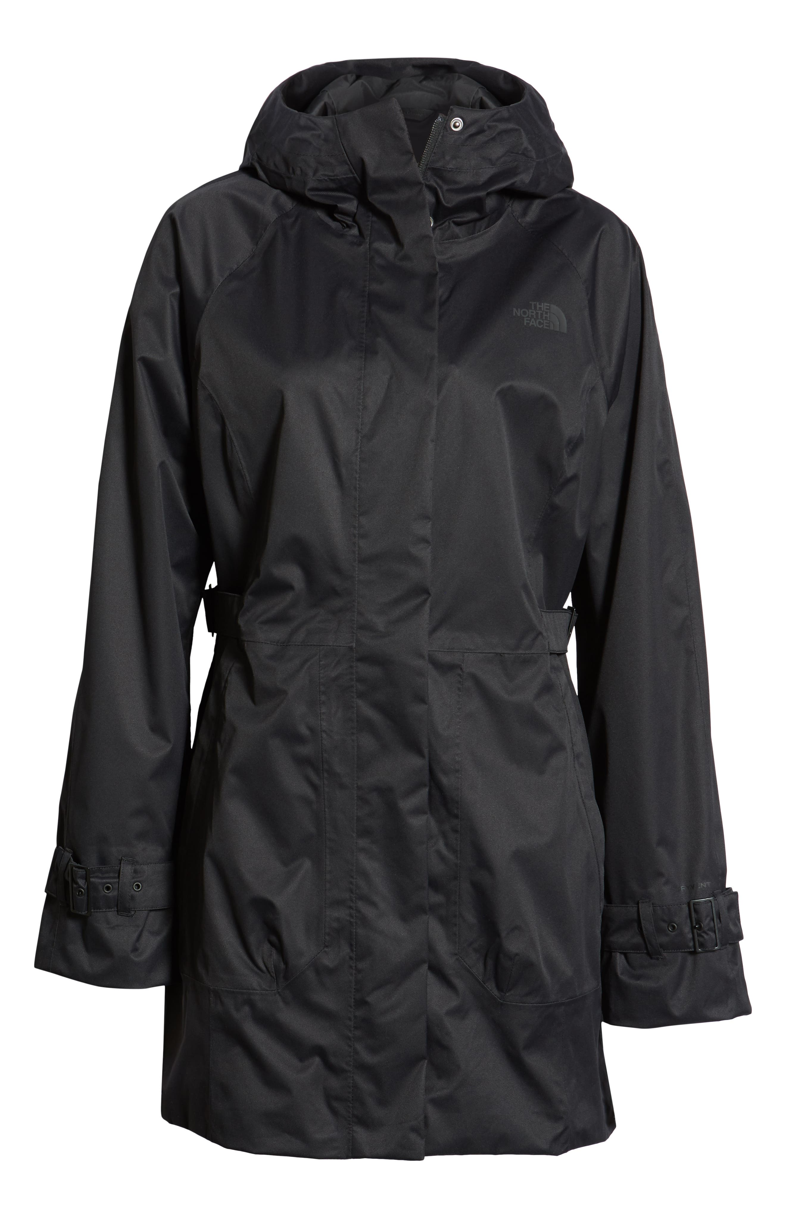 THE NORTH FACE, City Breeze Trench Raincoat, Alternate thumbnail 6, color, TNF BLACK