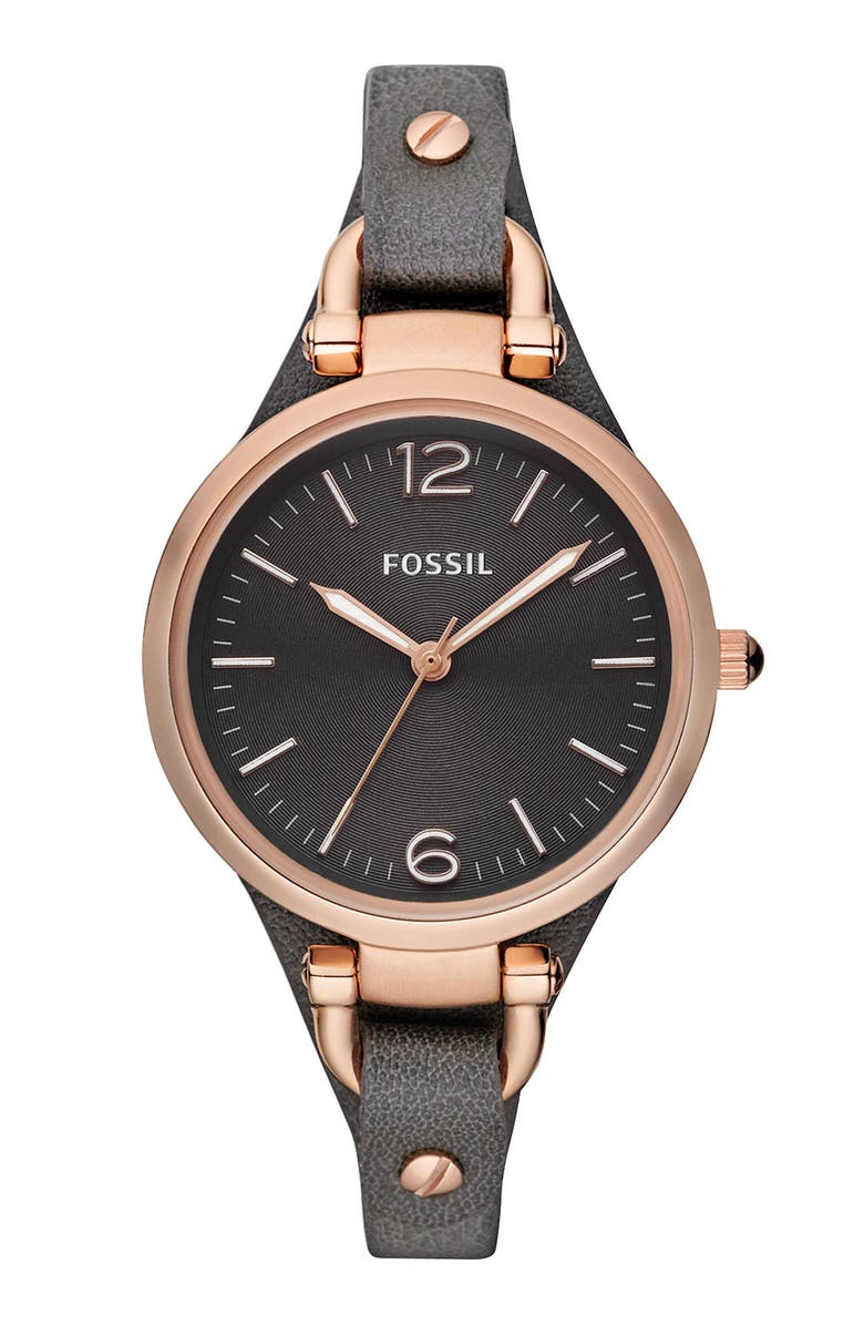 Fossil Cases 'GEORGIA' LEATHER STRAP WATCH, 32MM