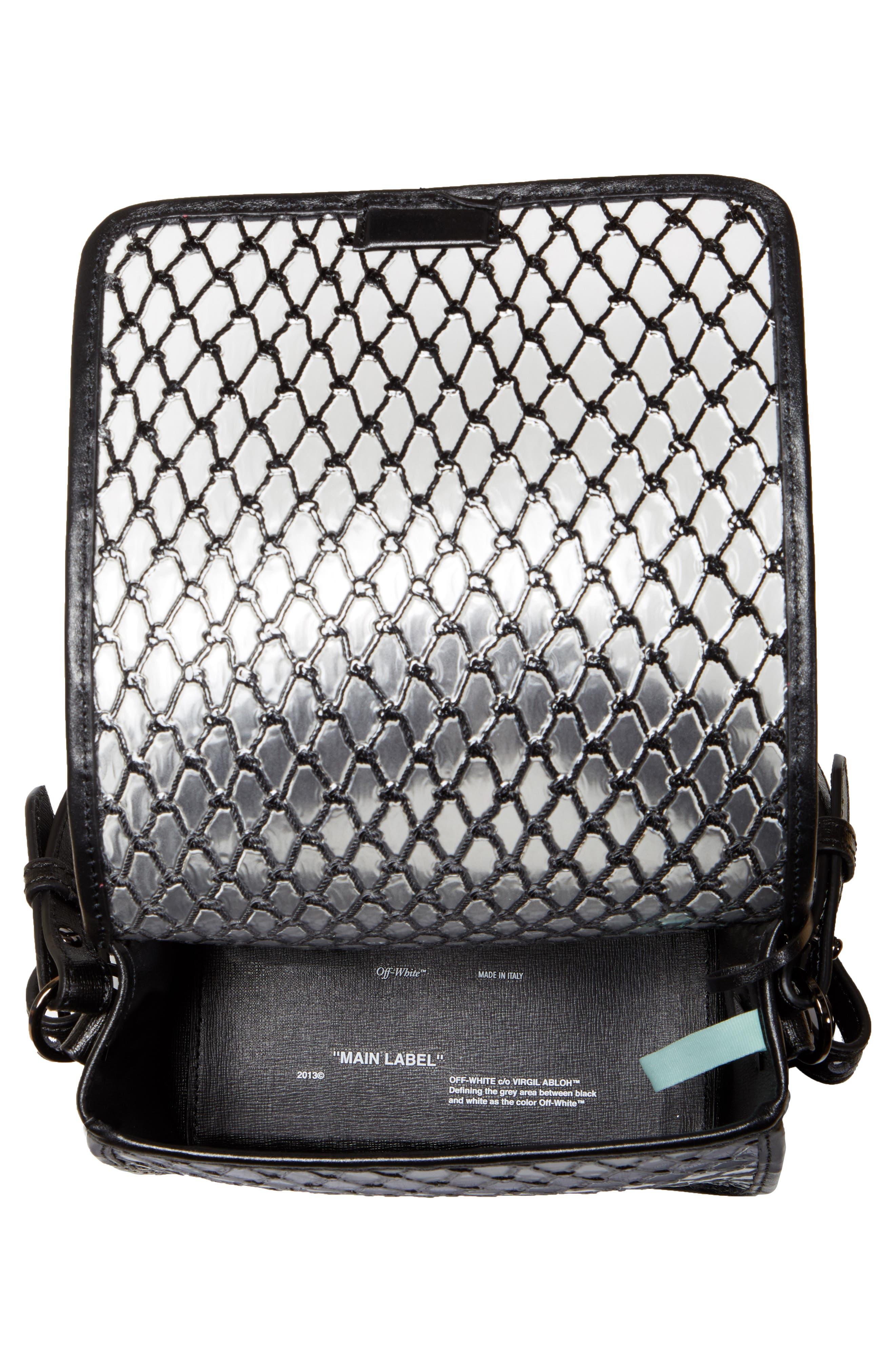 OFF-WHITE, Net PVC Flap Bag, Alternate thumbnail 5, color, BLACK