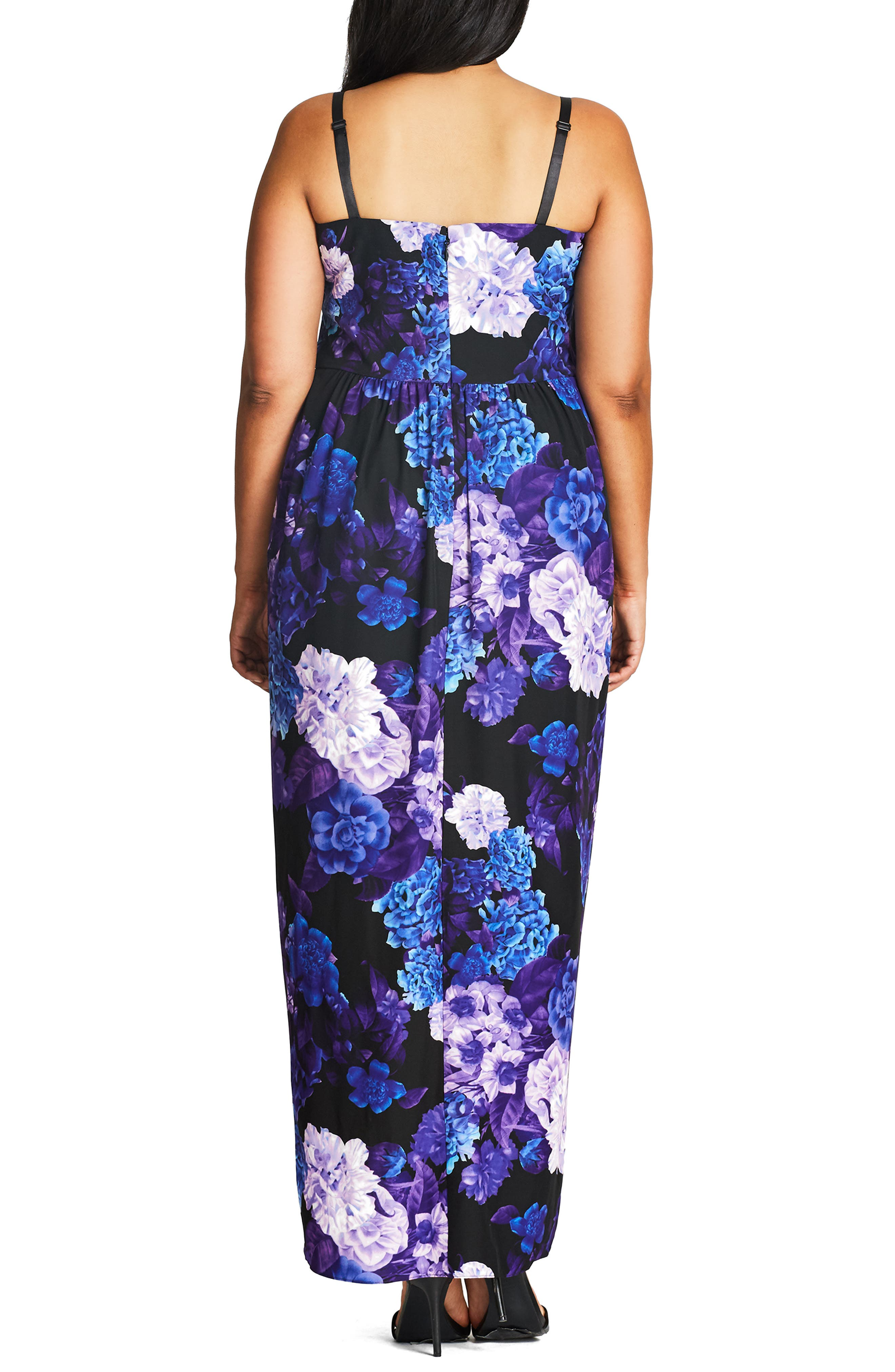 CITY CHIC, Hydrangea Print Maxi Dress, Alternate thumbnail 2, color, BLACK