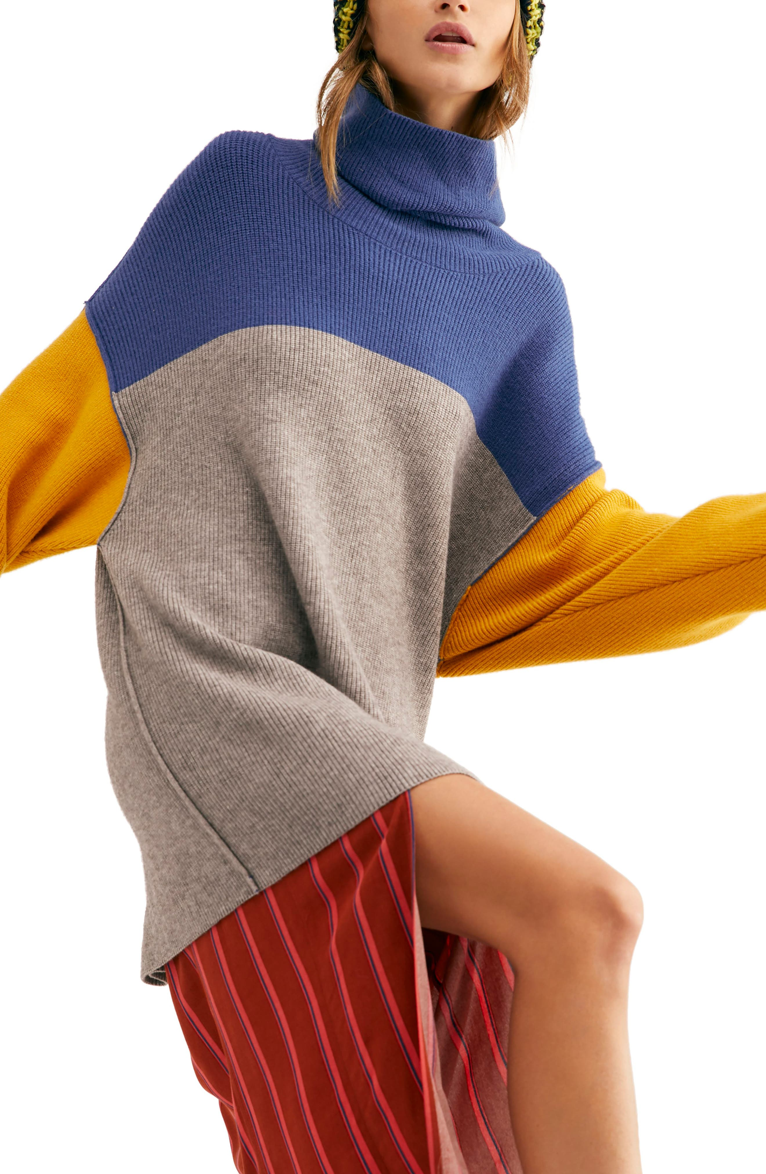 FREE PEOPLE, Colorblock Turtleneck Sweater, Alternate thumbnail 3, color, 400