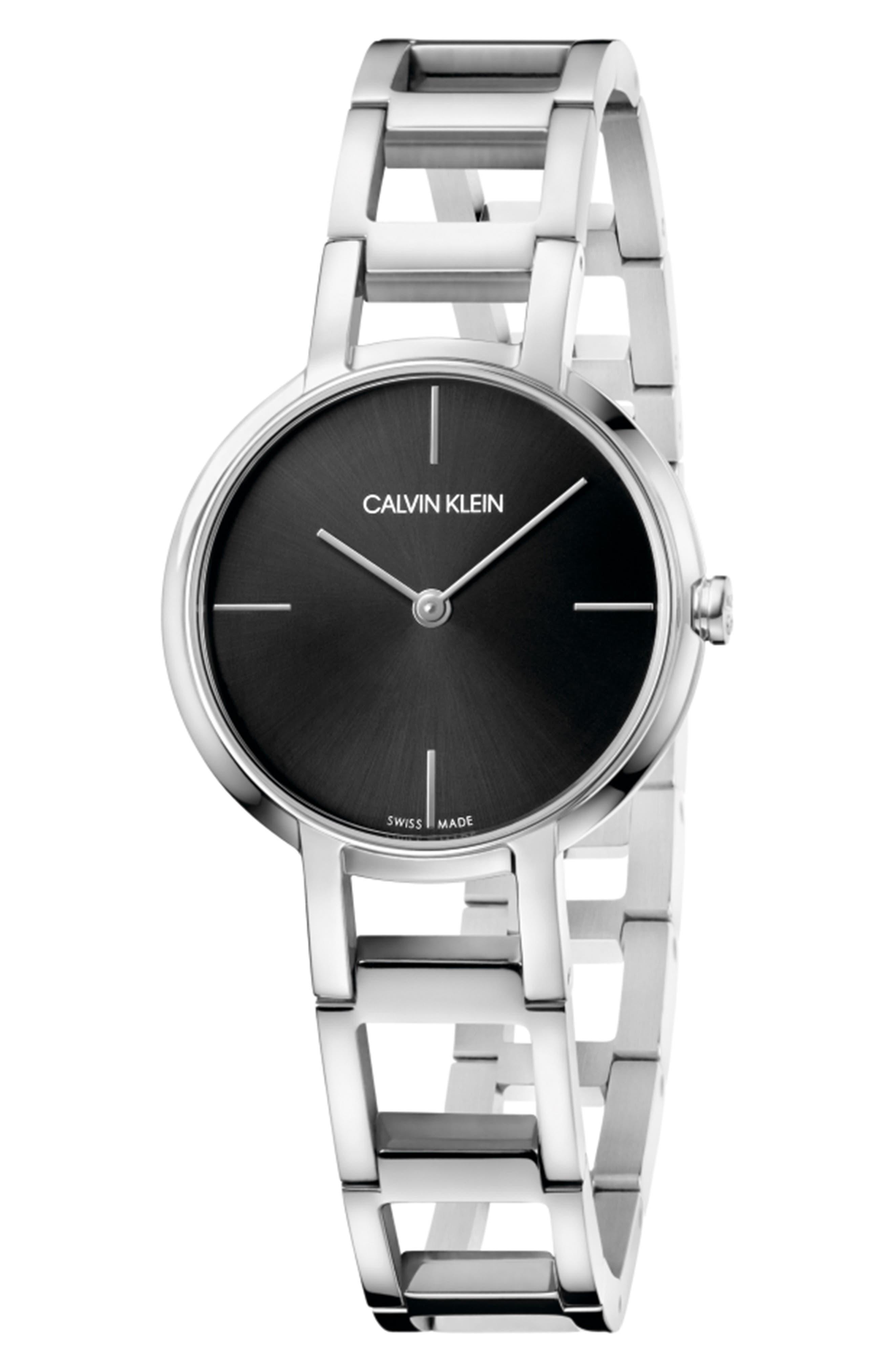 CALVIN KLEIN, Cheers Bracelet Watch, 32mm, Main thumbnail 1, color, SILVER/ BLACK/ SILVER