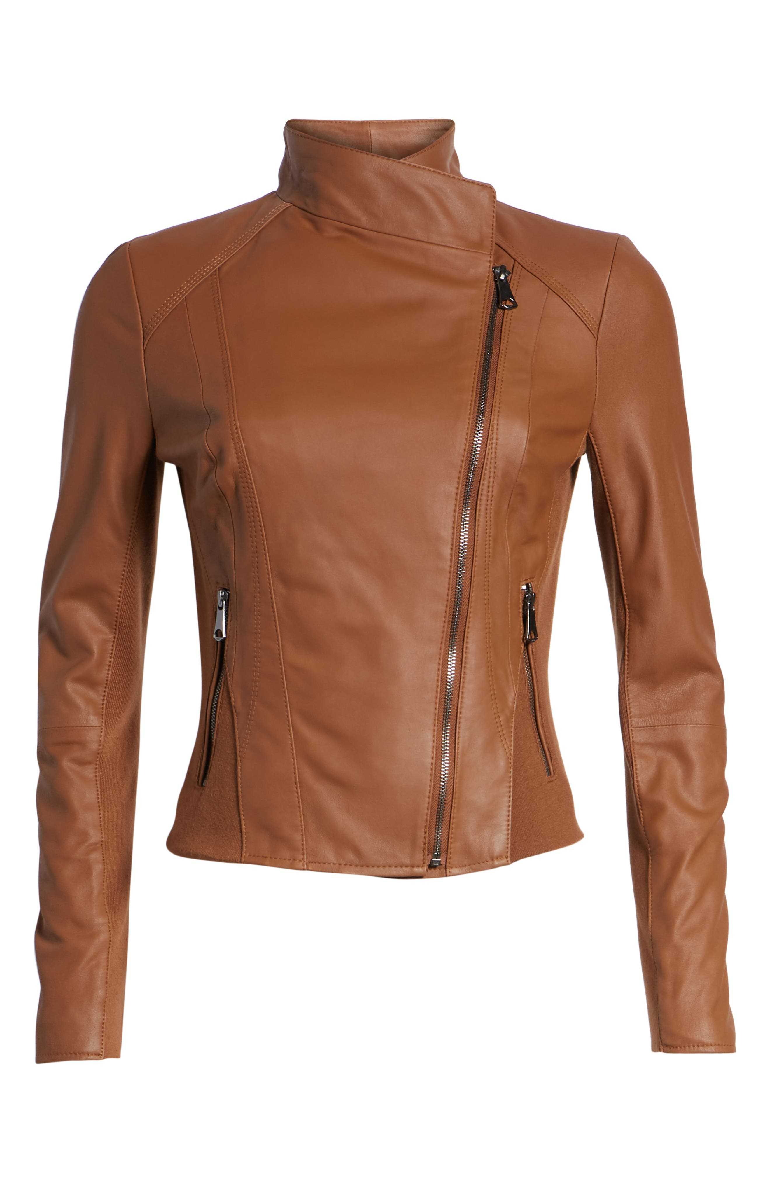 ANDREW MARC, Marc New York by Andrew Marc Felix Stand Collar Leather Jacket, Alternate thumbnail 6, color, WHISKEY