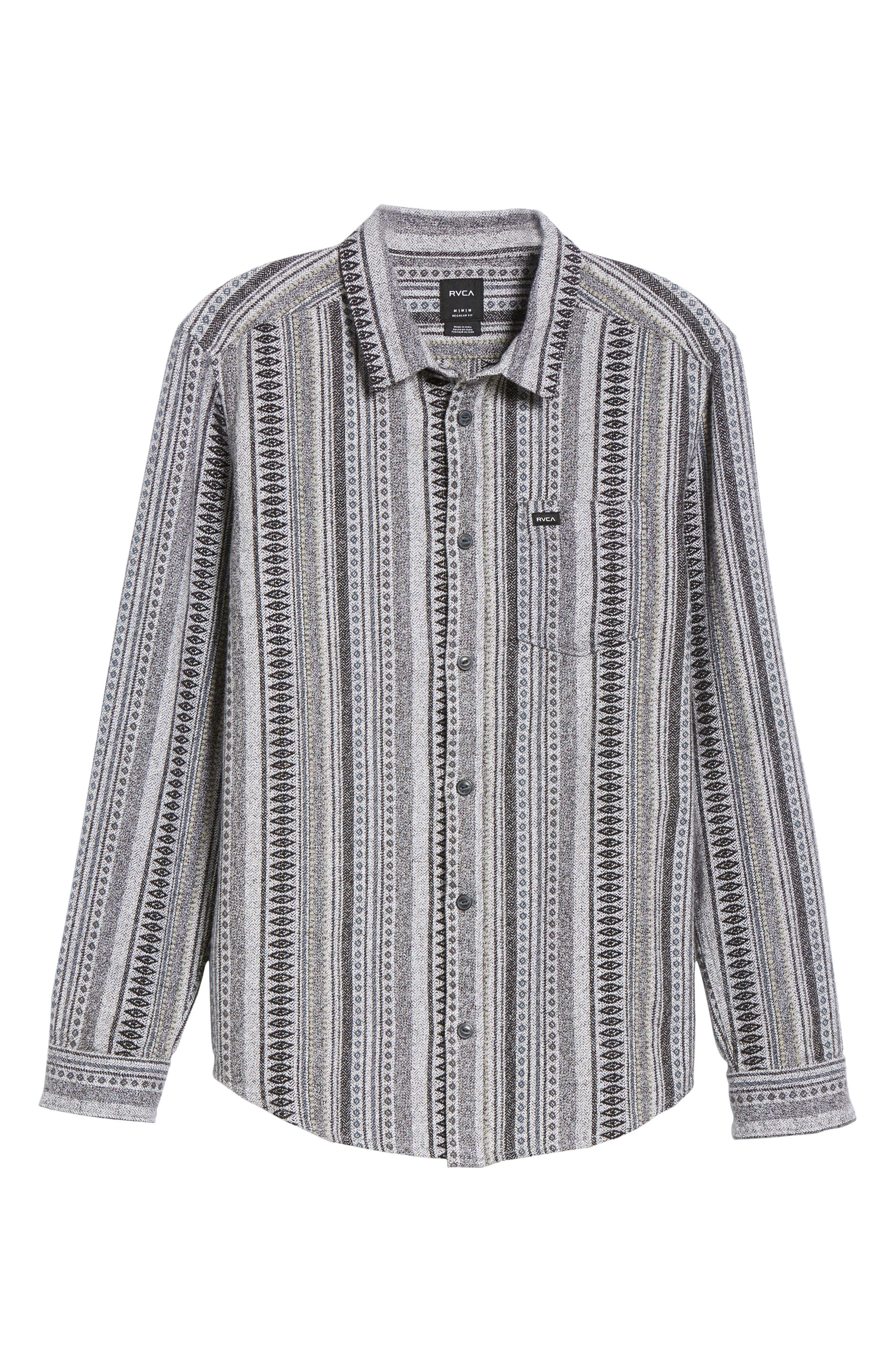 RVCA, Small Victory Woven Shirt, Alternate thumbnail 5, color, SMOKEY GREY HEATHER