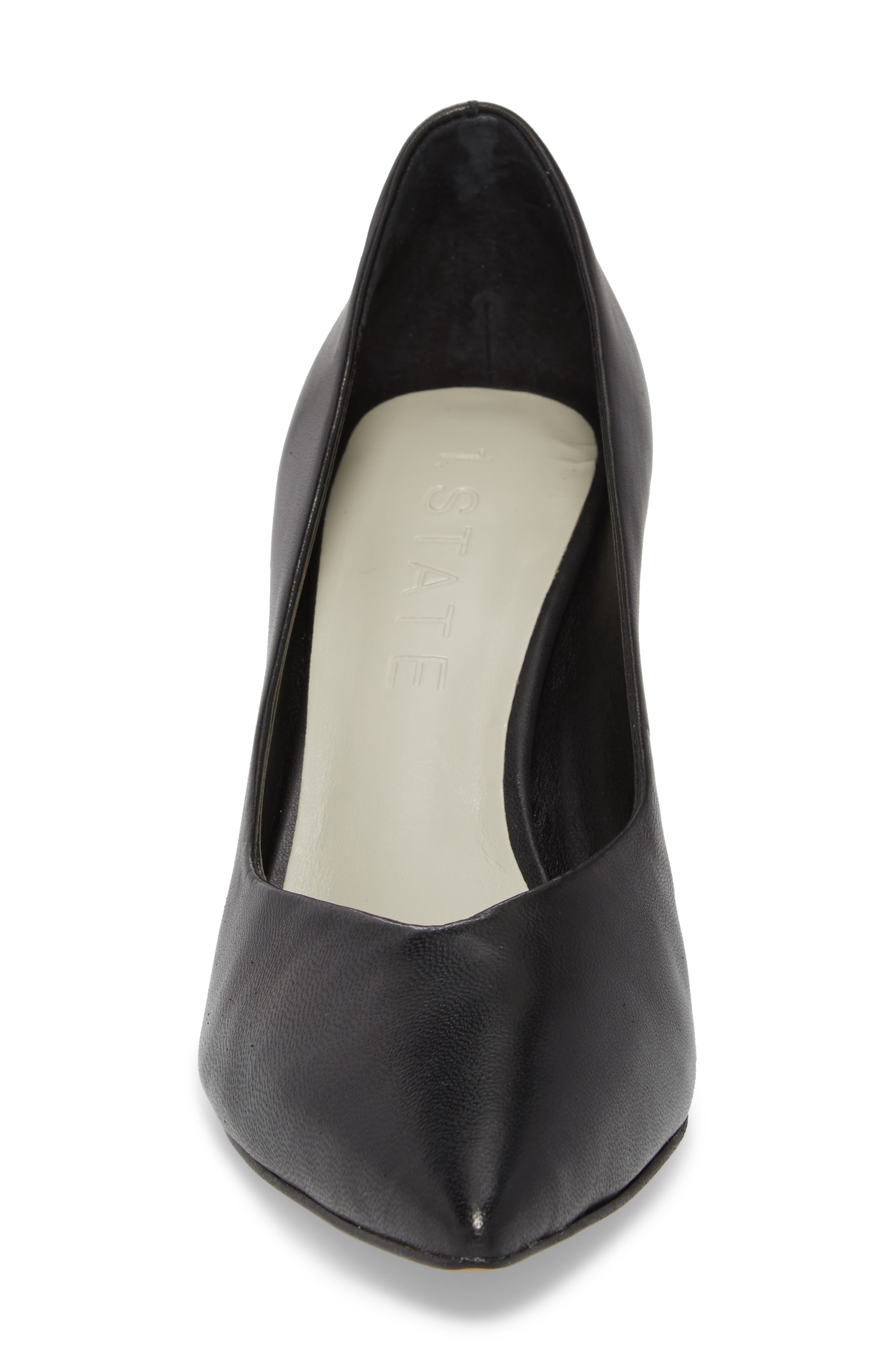 1.STATE, Saffy Block Heel Pump, Alternate thumbnail 4, color, BLACK LEATHER