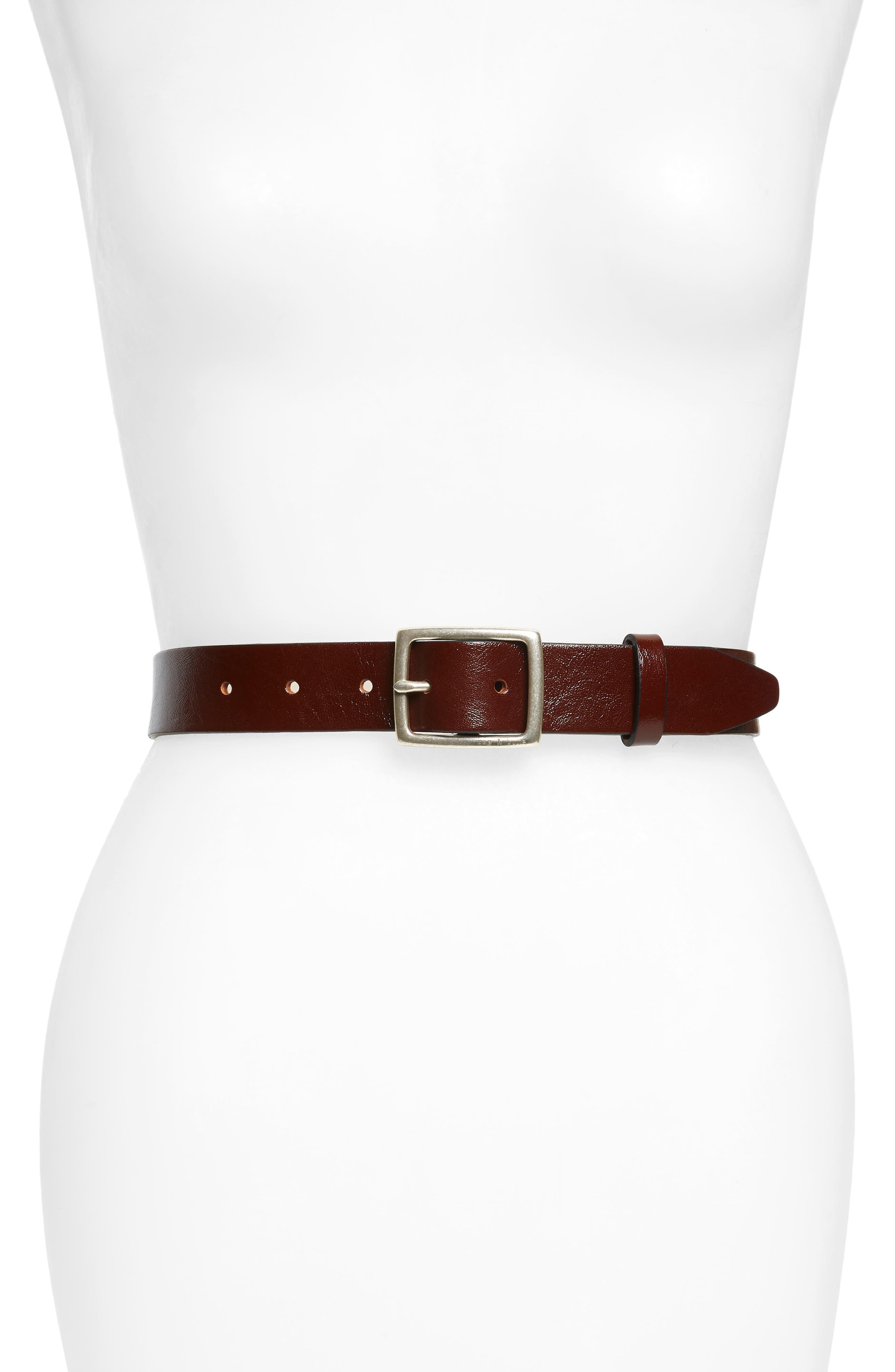 RAG & BONE 'Boyfriend' Leather Belt, Main, color, DARK BROWN