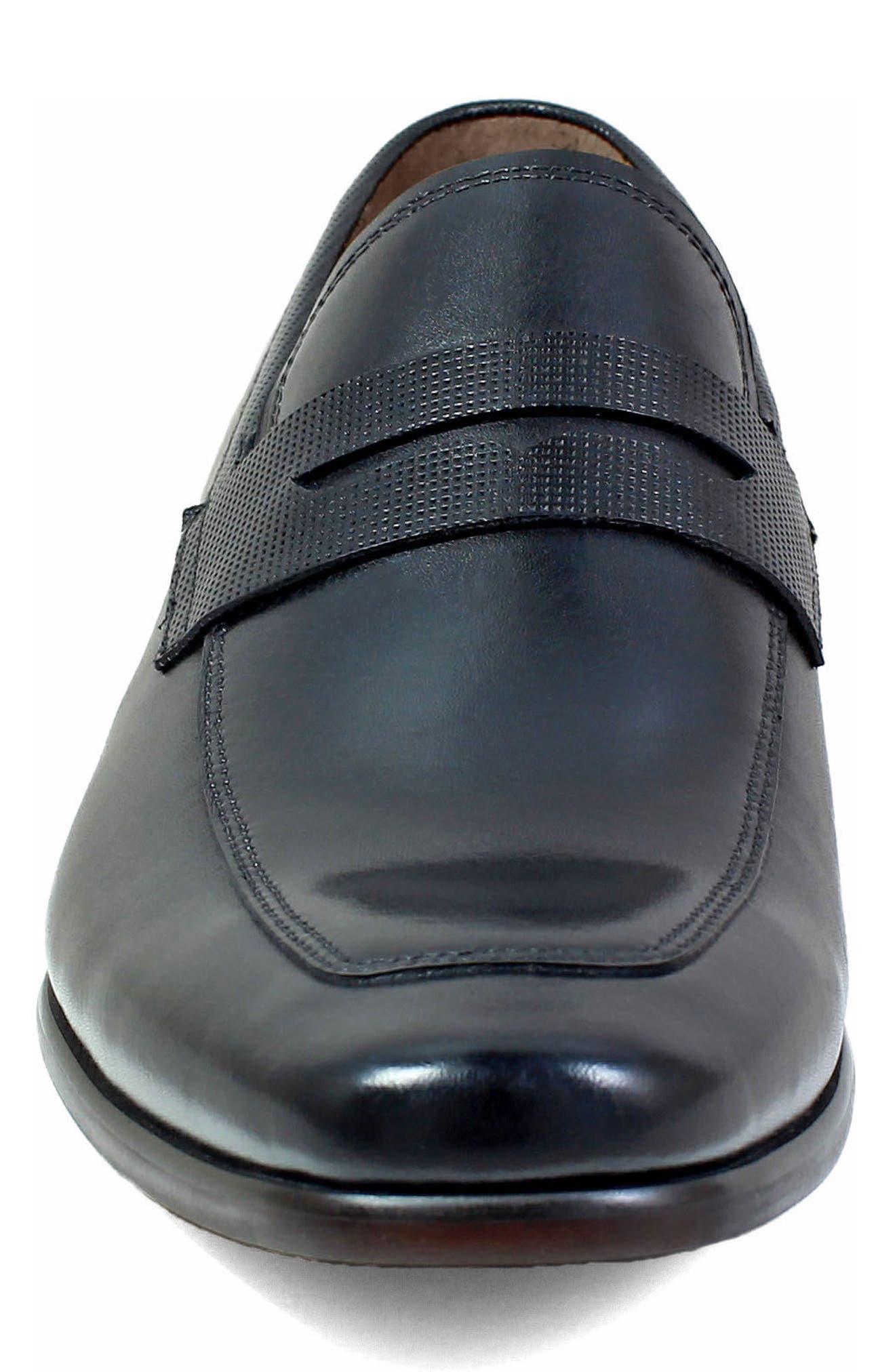 FLORSHEIM, Postino Apron Toe Textured Penny Loafer, Alternate thumbnail 3, color, BLACK LEATHER