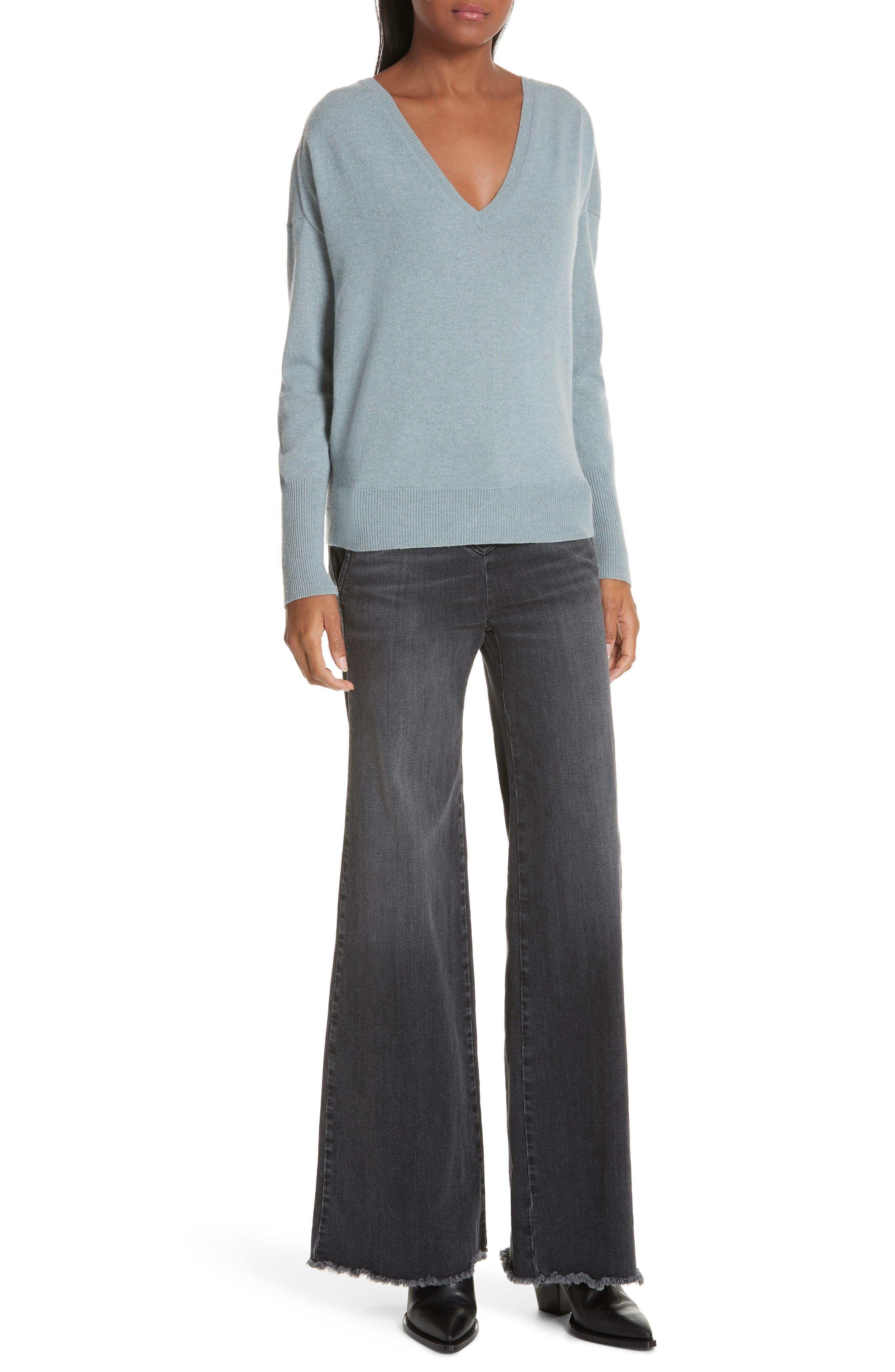 NILI LOTAN, Kylan Cashmere Sweater, Alternate thumbnail 7, color, SKY BLUE