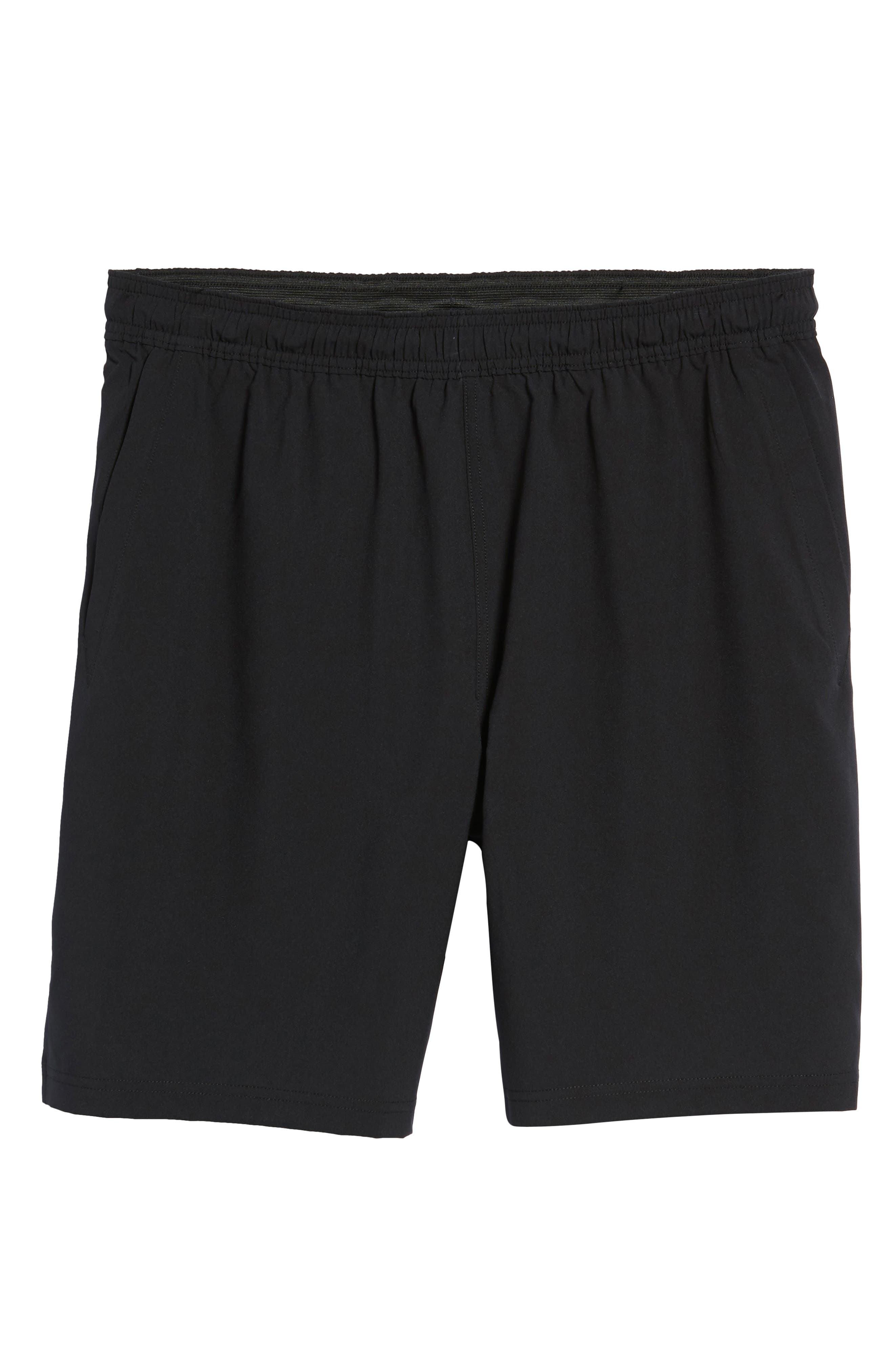 ZELLA, Graphite Perforated Shorts, Alternate thumbnail 7, color, BLACK