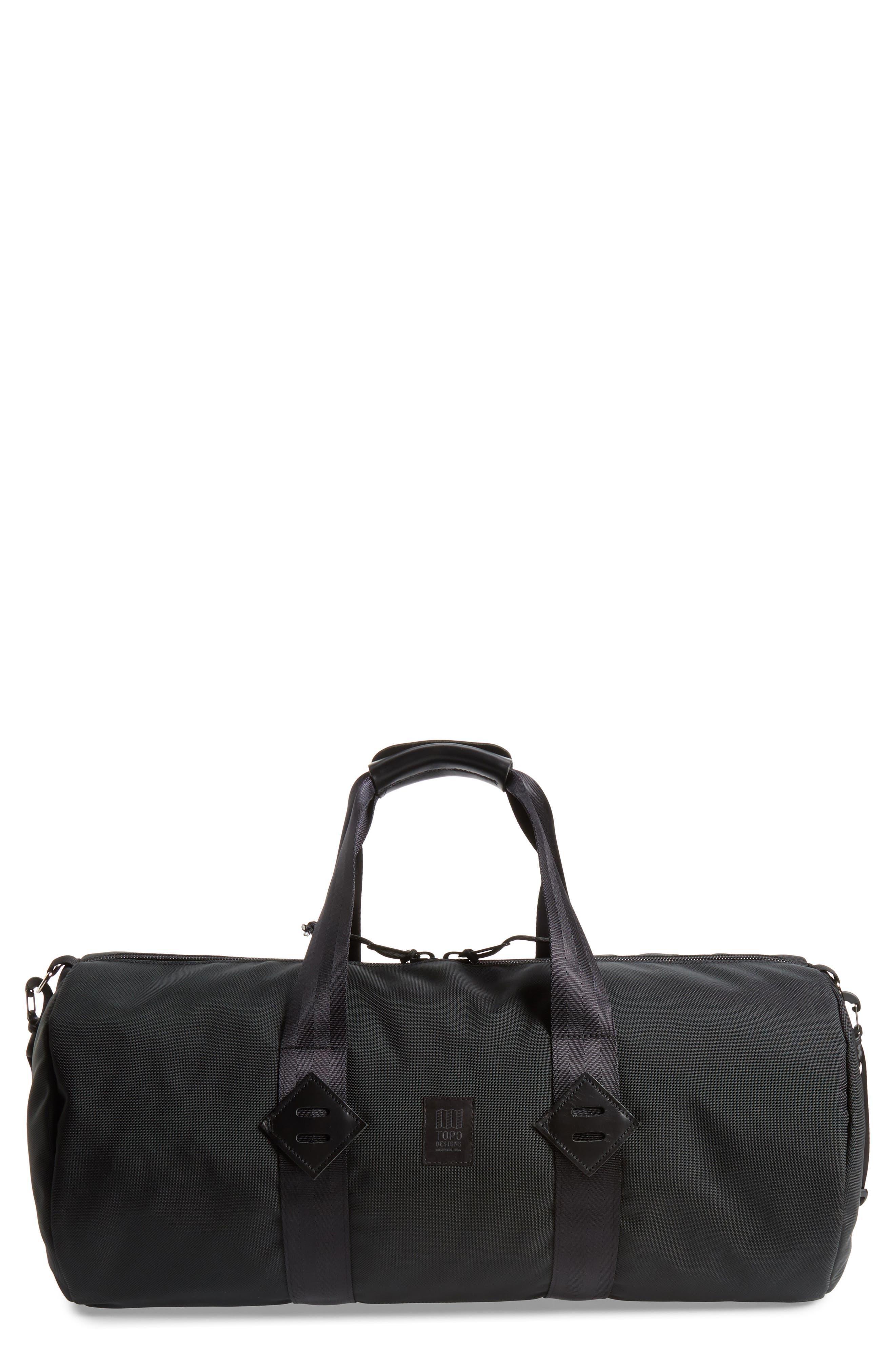 TOPO DESIGNS, Classic Duffle Bag, Main thumbnail 1, color, BALLISTIC BLACK/ BLACK LEATHER