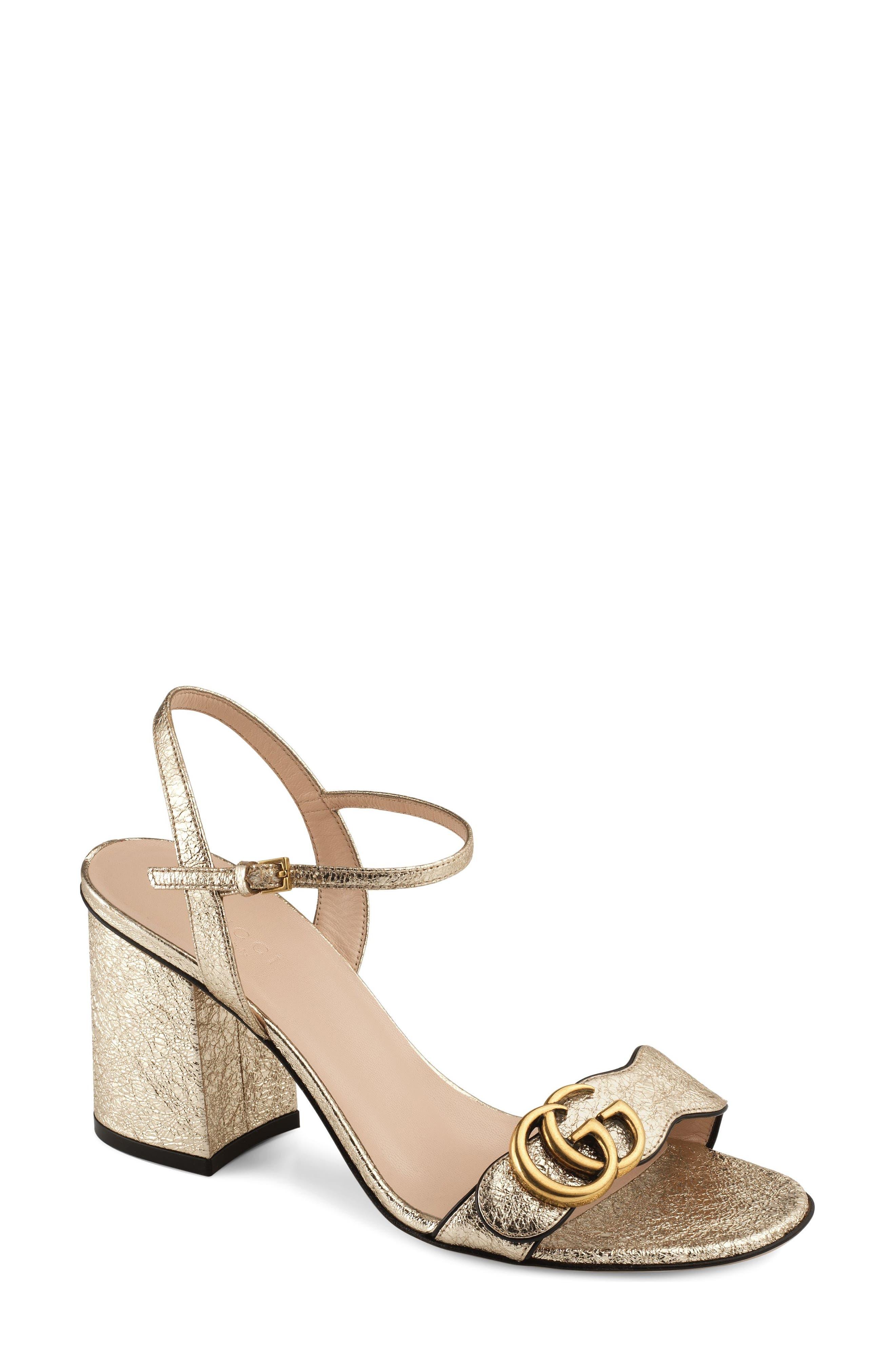 GUCCI GG Marmont Sandal, Main, color, METALLIC GOLD